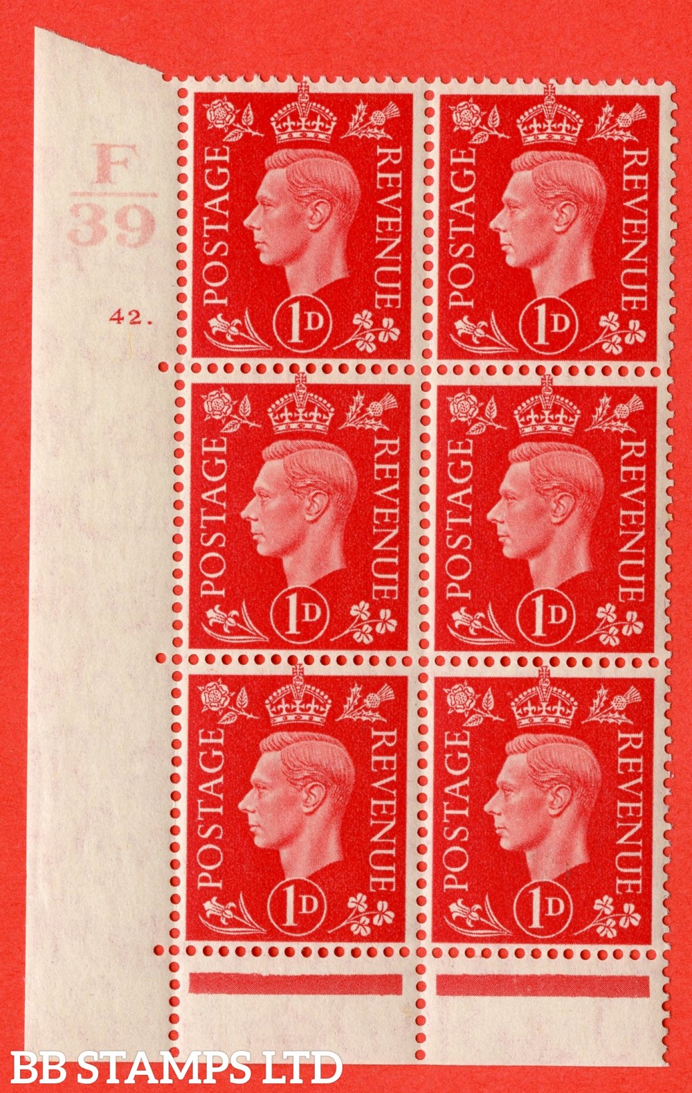 "SG. 463. Q4. 1d Scarlet. A superb UNMOUNTED MINT "" Control F39 cylinder 42 dot "" block of 6 with perf type 6B E/P with marginal rule."