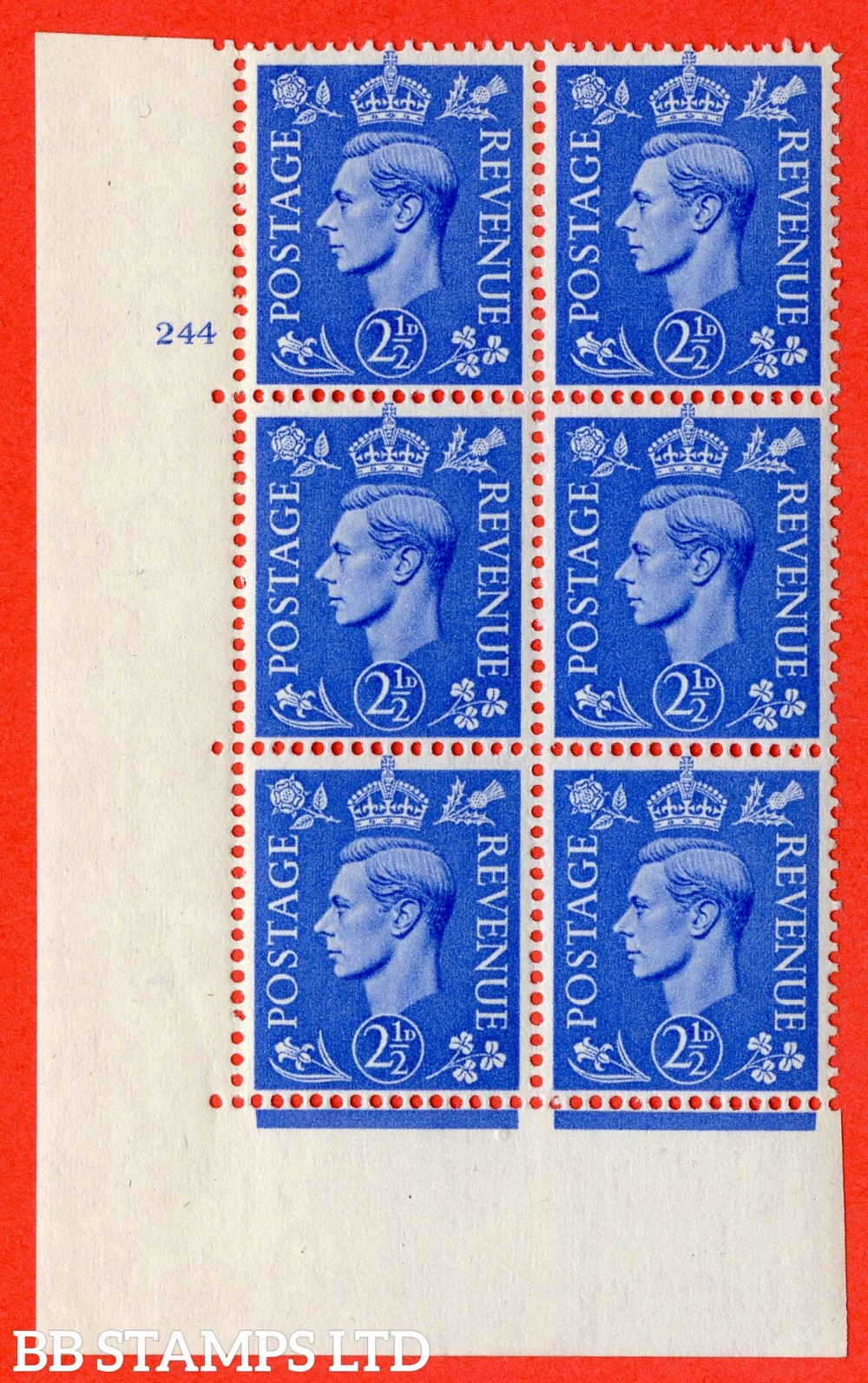 "SG. 489. Q14. 2½d Light ultramarine. A superb UNMOUNTED MINT "" No Control cylinder 244 no dot "" control block of 6 with perf type 5 E/I"