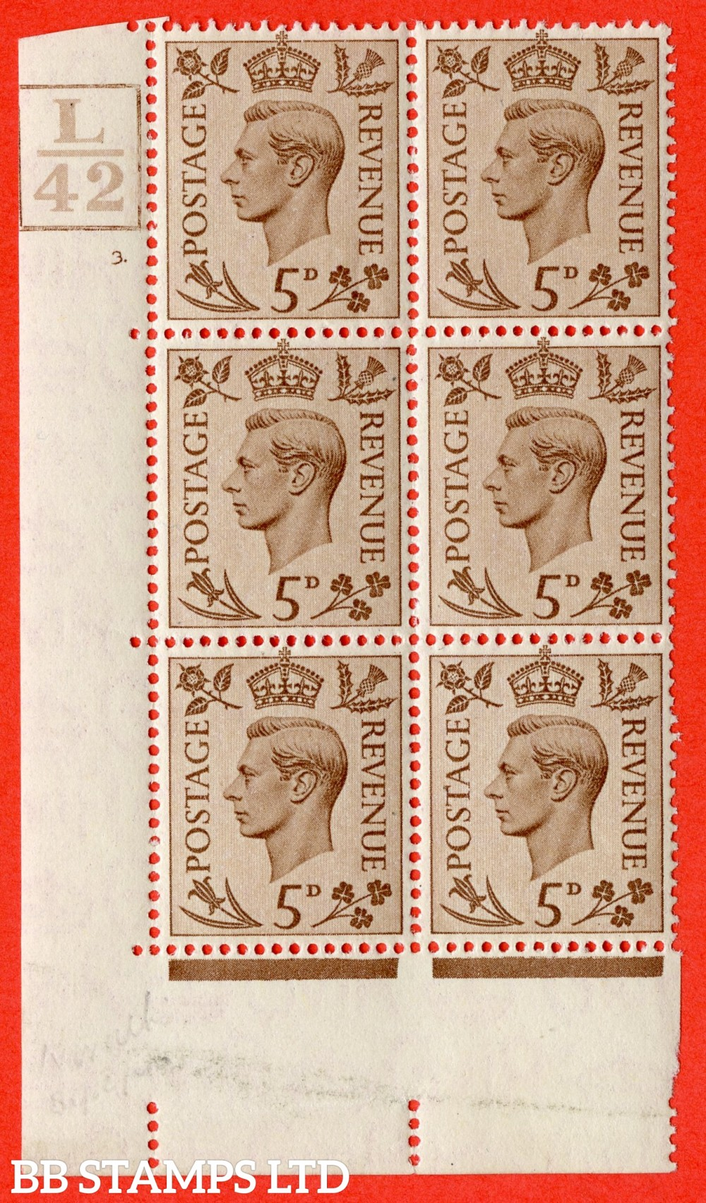"""SG. 469. Q21. 5d Brown. A fine lightly mounted mint.  """" Control L42 Box cylinder 3 no dot """" control block of 6 with perf type 5 E/I."""