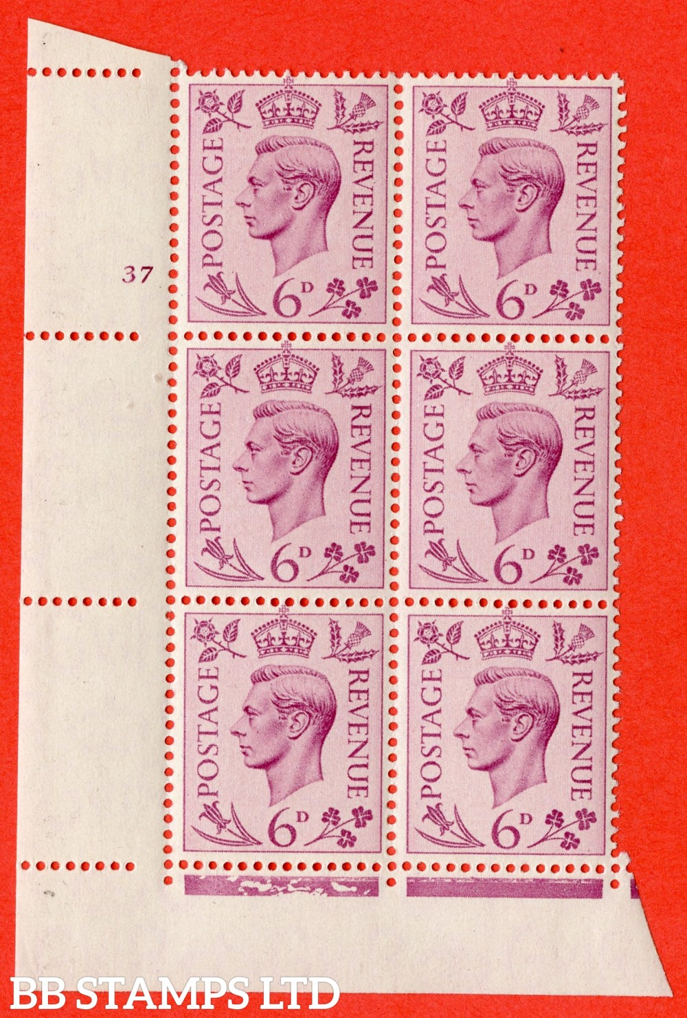 """SG. 470. Q22. 6d Purple. A superb UNMOUNTED MINT """" No Control cylinder 37 no dot """" control block of 6 with perf type 2 E/I."""