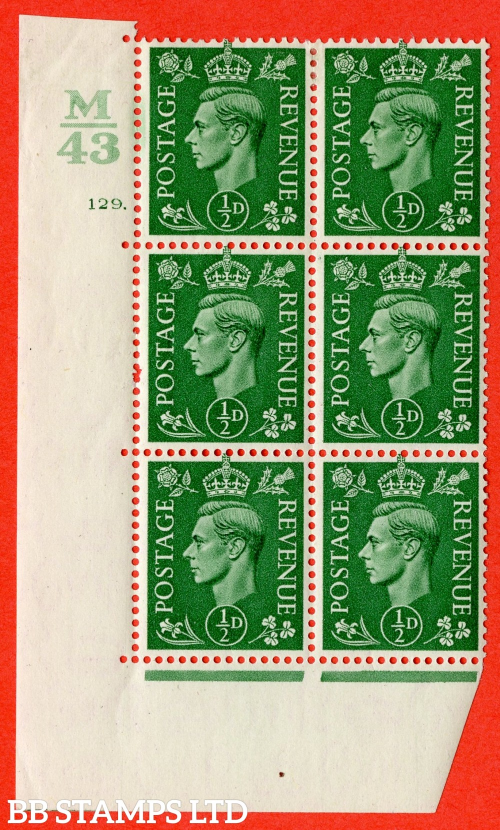 "SG. 485. Q2. ½d Pale Green. A fine lightly mounted mint "" Control M43 cylinder 129 dot "" block of 6 with perf type 5 E/I with marginal rule."