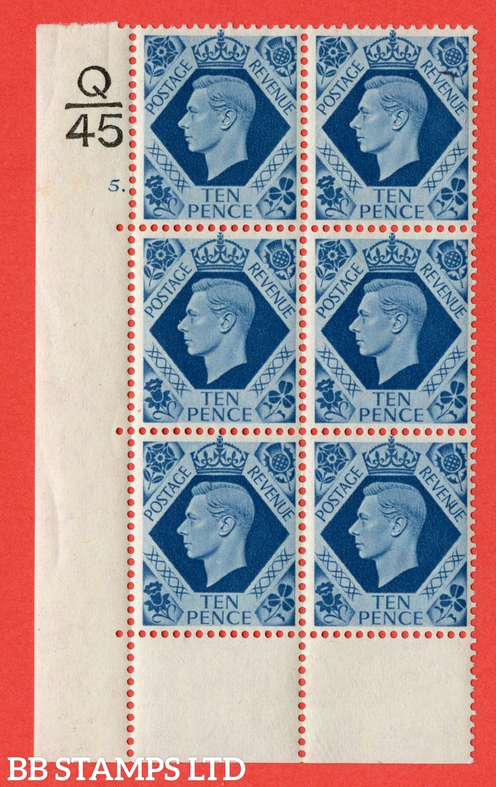"SG. 474. Q26. 10d Turquoise-Blue. A fine lightly mounted mint "" Control Q45 cylinder 5 no dot "" control block of 6 with perf type 6B E/P."