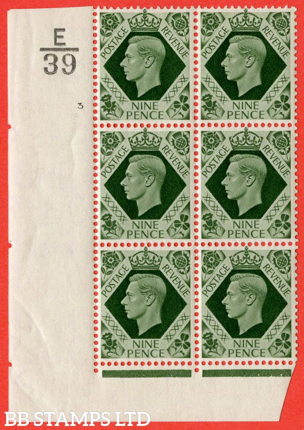 "SG. 473. Q25 b. 9d Olive-Green. A fine lightly mounted mint "" Control E39 cylinder 3 no dot "" control block of 6 with perf type 2 I/E with listed variety "" Sloping Serif to top right of lase E of PENCE  "" Row 18/1."