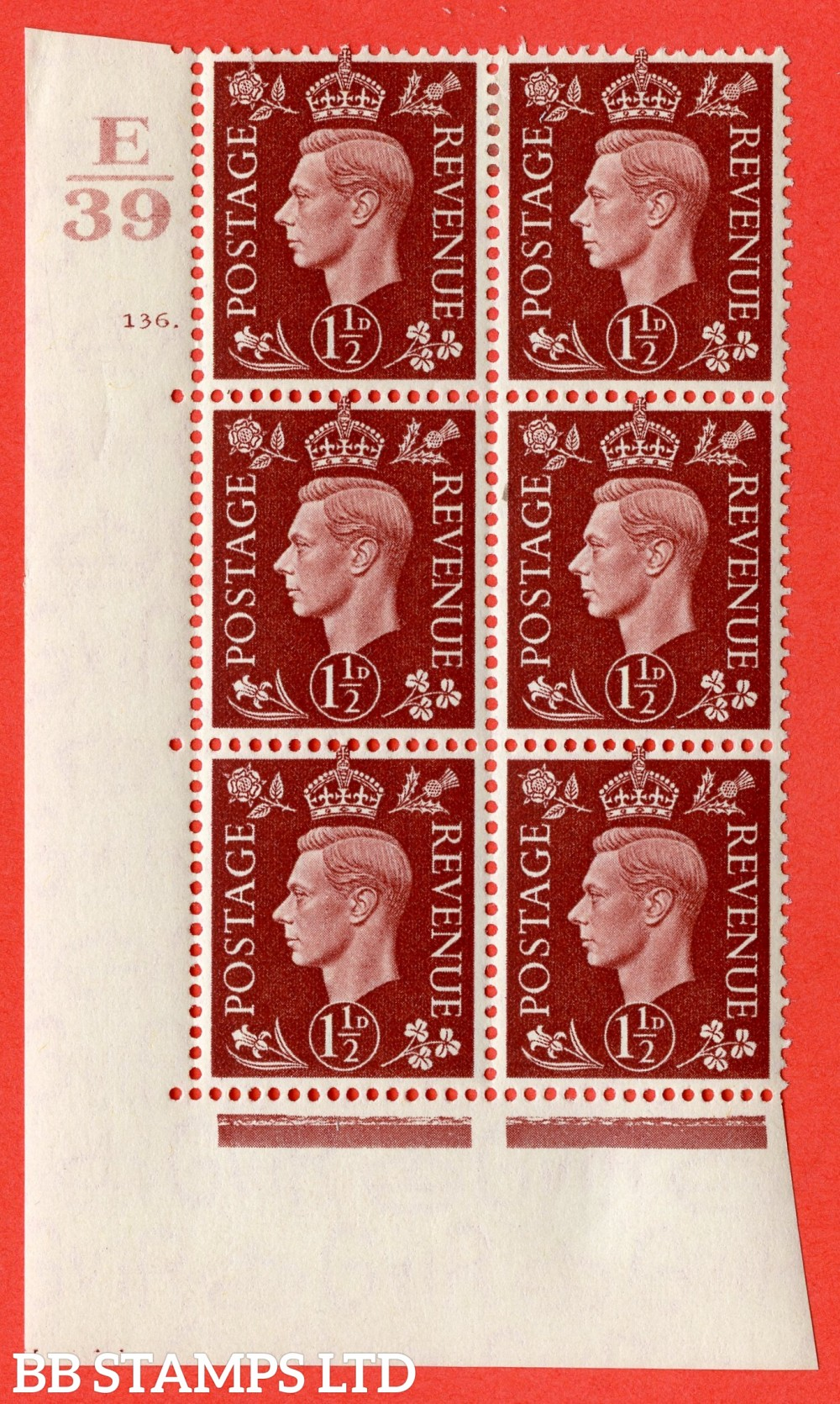 """SG. 464. Q7. 1½d Red-Brown. A fine lightly mounted mint  """" Control E39 cylinder 136 no dot """" block of 6 with perf type 5 E/I."""