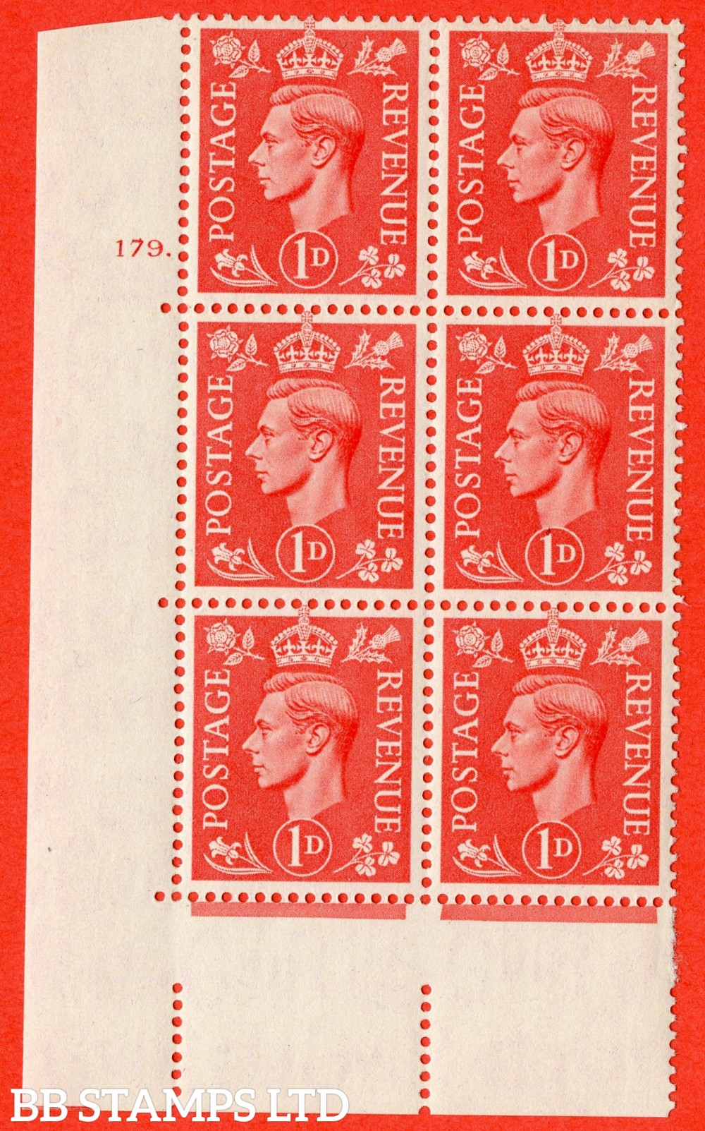 "SG. 486. Q5. 1d Pale scarlet. A superb UNMOUNTED MINT "" No Control   cylinder 179 dot "" control block of 6 with perf type 5 E/I."