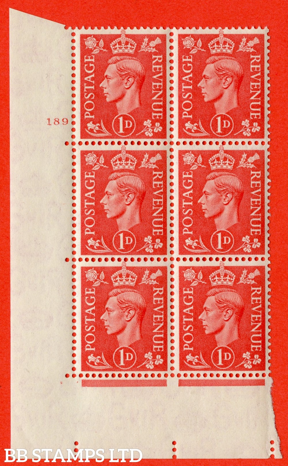"SG. 486. Q5. 1d Pale scarlet. A superb UNMOUNTED MINT "" No Control   cylinder 189 no dot "" control block of 6 with perf type 5 E/I."