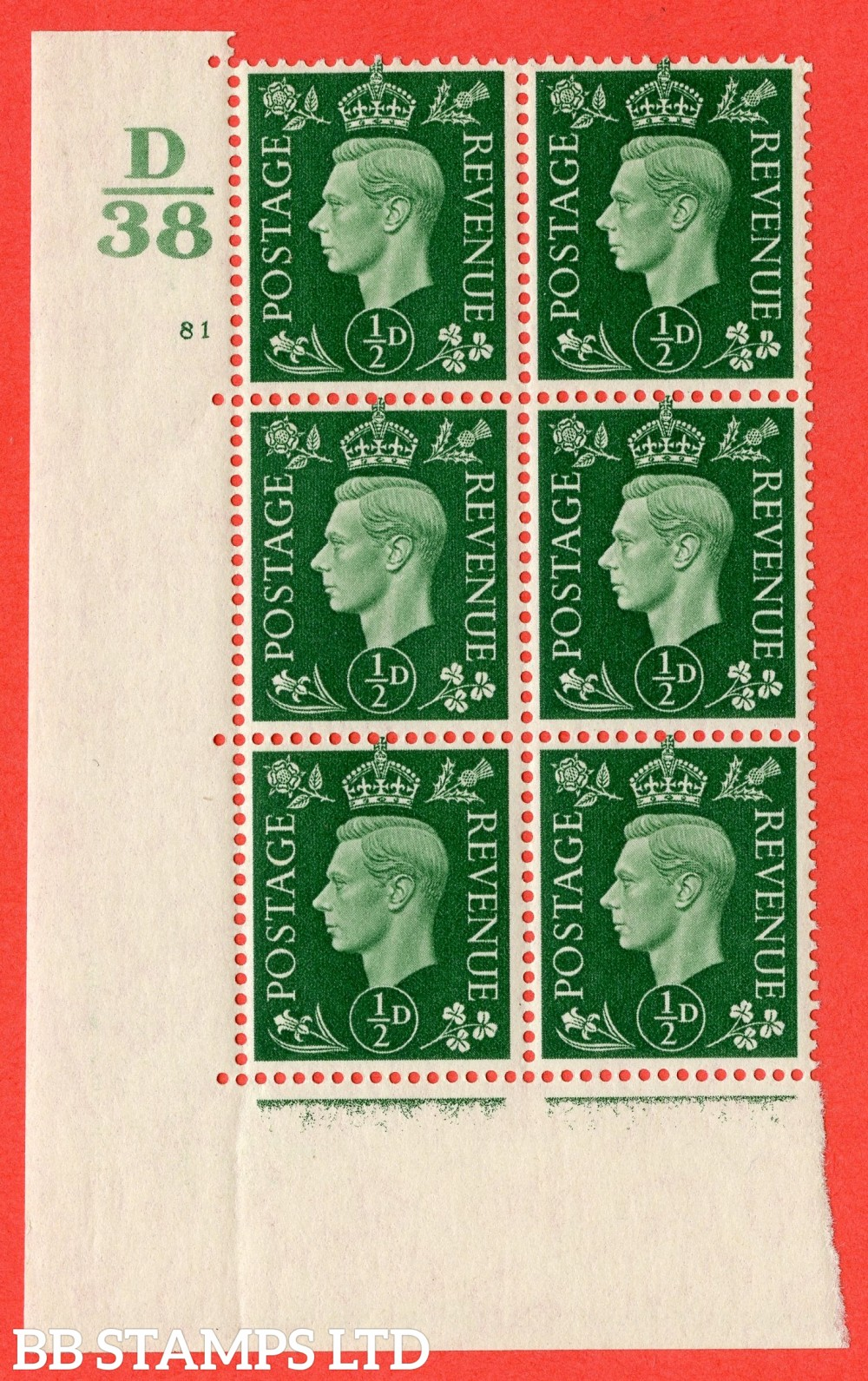 "SG. 462. Q1. ½d Green. A superb UNMOUNTED MINT "" Control D38 cylinder 81 no dot "" block of 6 with perf type 5 E/I with marginal rule."