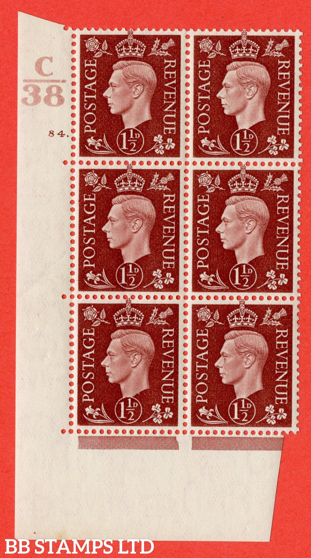 """SG. 464. Q7. 1½d Red-Brown. A superb UNMOUNTED MINT """" Control C38 cylinder 84 dot """" block of 6 with perf type 5 E/I."""