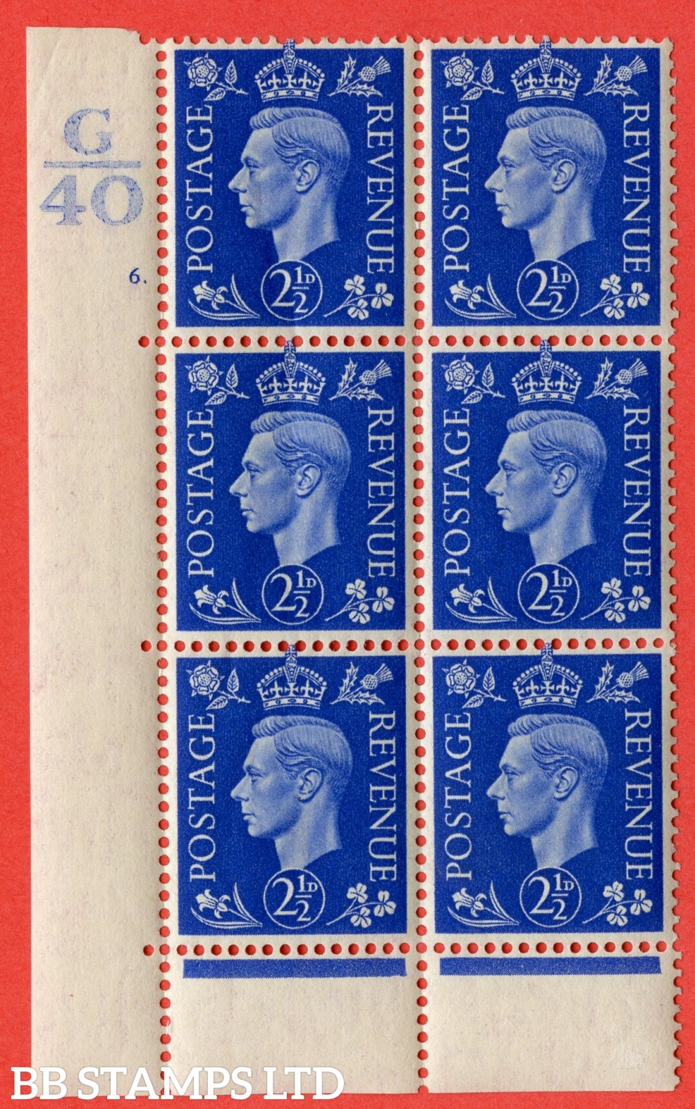 "SG. 466. Q13. 2½d Ultramarine. A superb UNMOUNTED MINT "" Control G40 cylinder 6 (ii) dot "" control block of 6 with perf type 6B E/P"