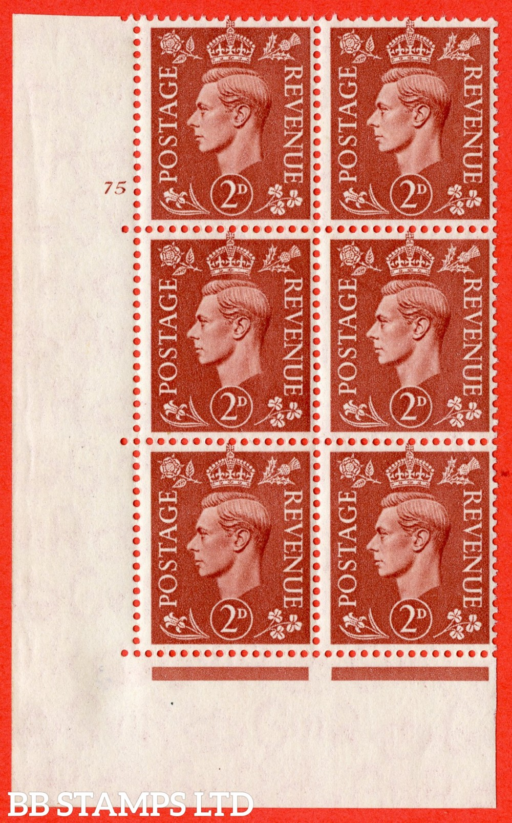 "SG. 506. Q12h. 2d Pale Red-Brown. A superb UNMOUNTED MINT "" No Control cylinder 75 no dot "" control block of 6 with perf type 5 I/E. with listed variety "" Missing Jewel in Crown "" Row 19/1."