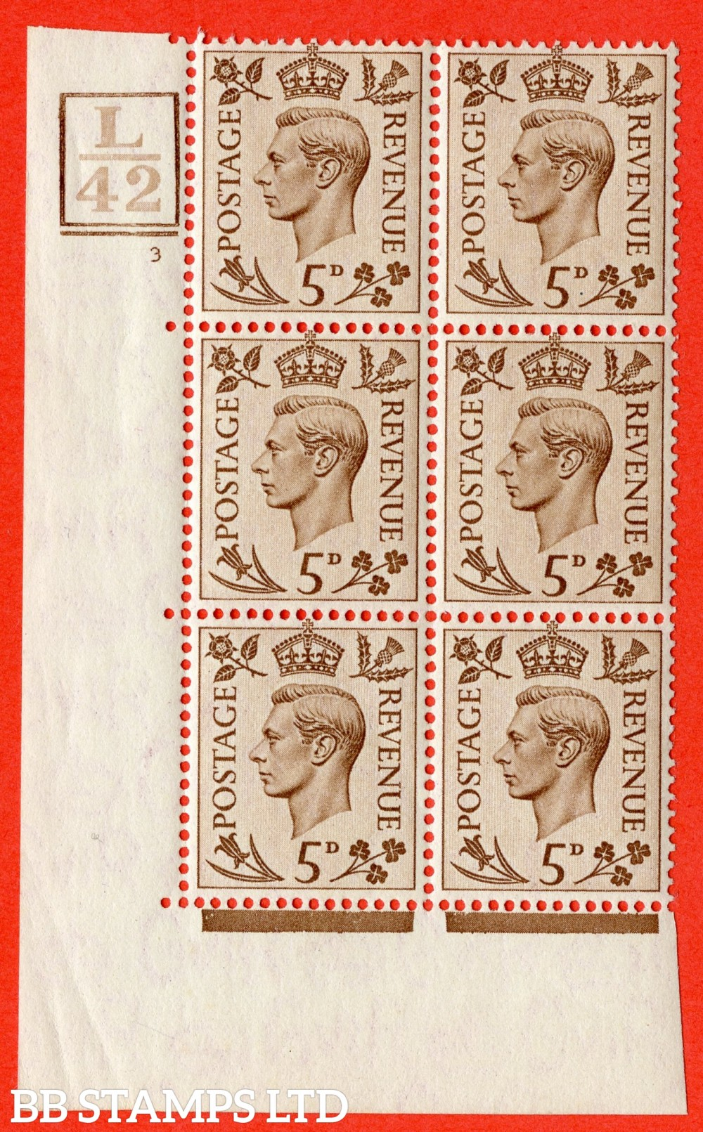 """SG. 469. Q21. 5d Brown. A superb UNMOUNTED MINT.  """" Control L42. Box & Bar cylinder 3 no dot """" control block of 6 with perf type 5 E/I."""
