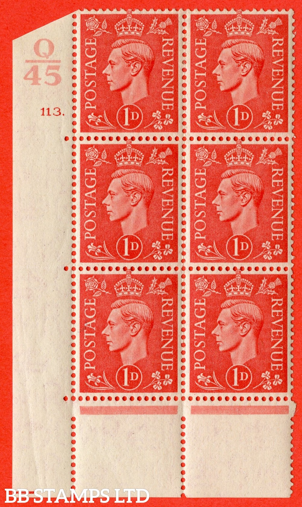 "SG. 486. Q5. 1d Pale scarlet. A fine lightly mounted mint "" Control Q45  cylinder 113 dot "" control block of 6 with perf type 5 E/I."