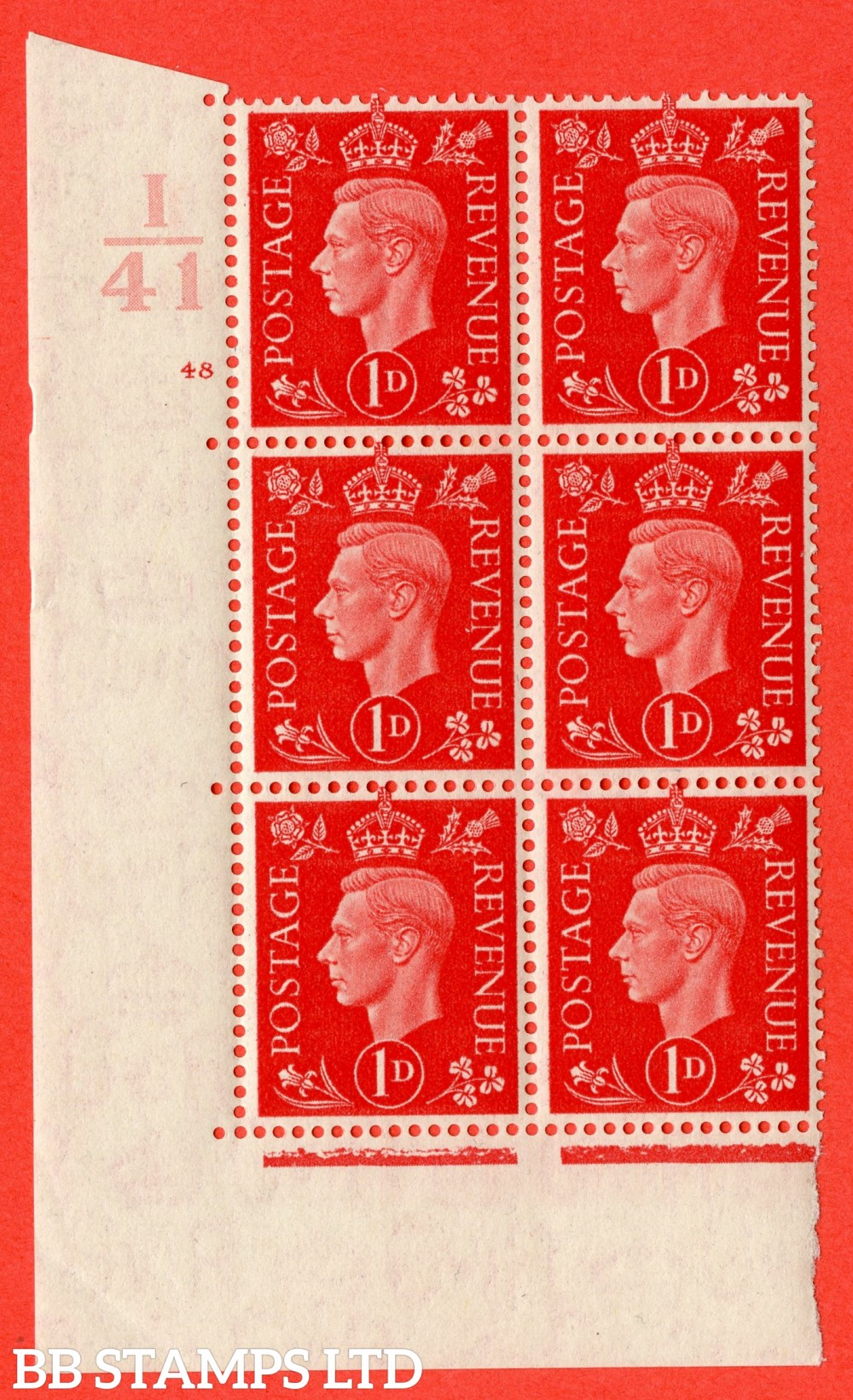 "SG. 463. Q4. 1d Scarlet. A superb UNMOUNTED MINT "" Control I41 cylinder 48 no dot "" block of 6 with perf type 5 E/I."