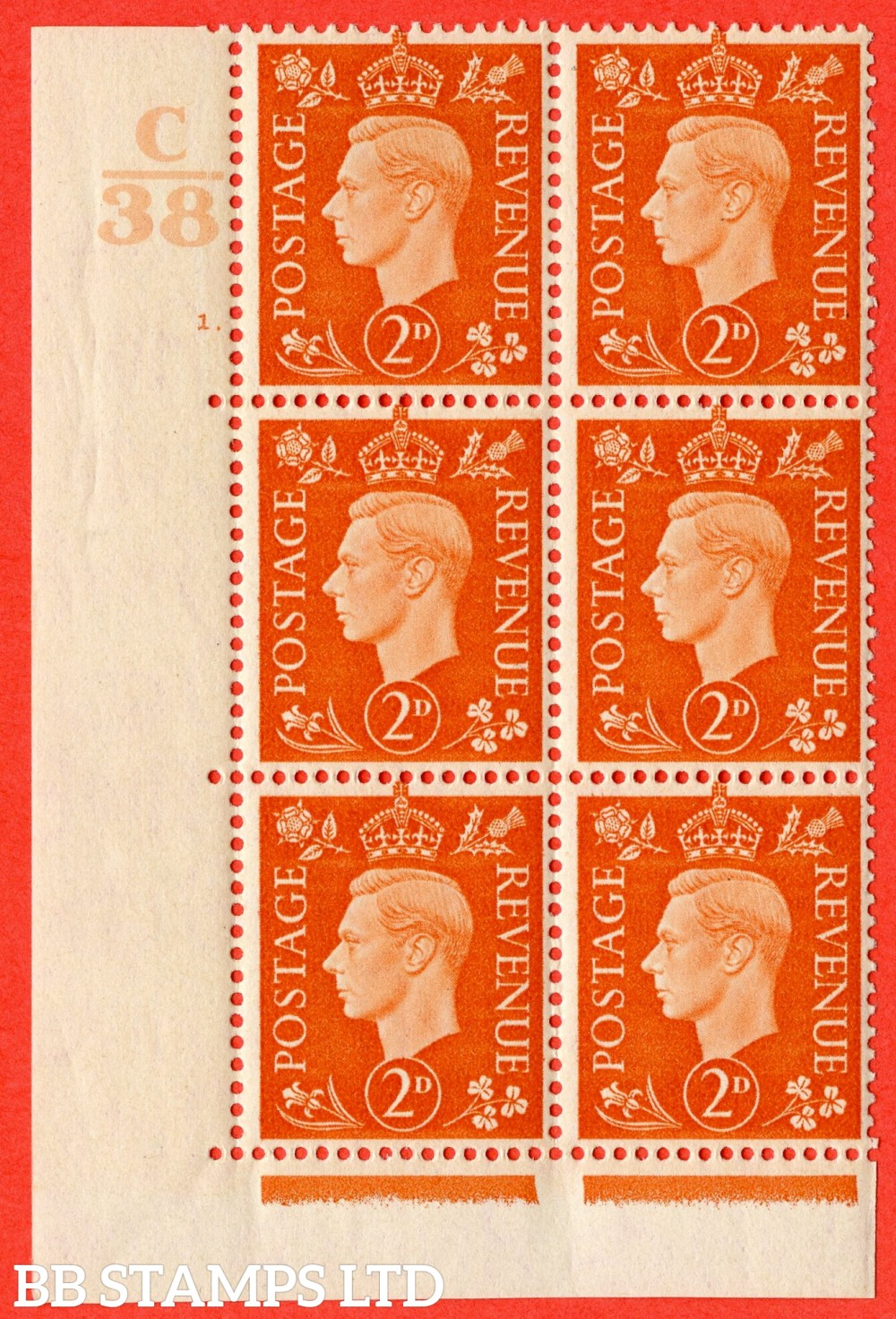 "SG. 465. Q10. 2d Orange. A fine mounted mint "" Control C38 cylinder 1 dot "" control block of 6 with perf type 5 E/I."
