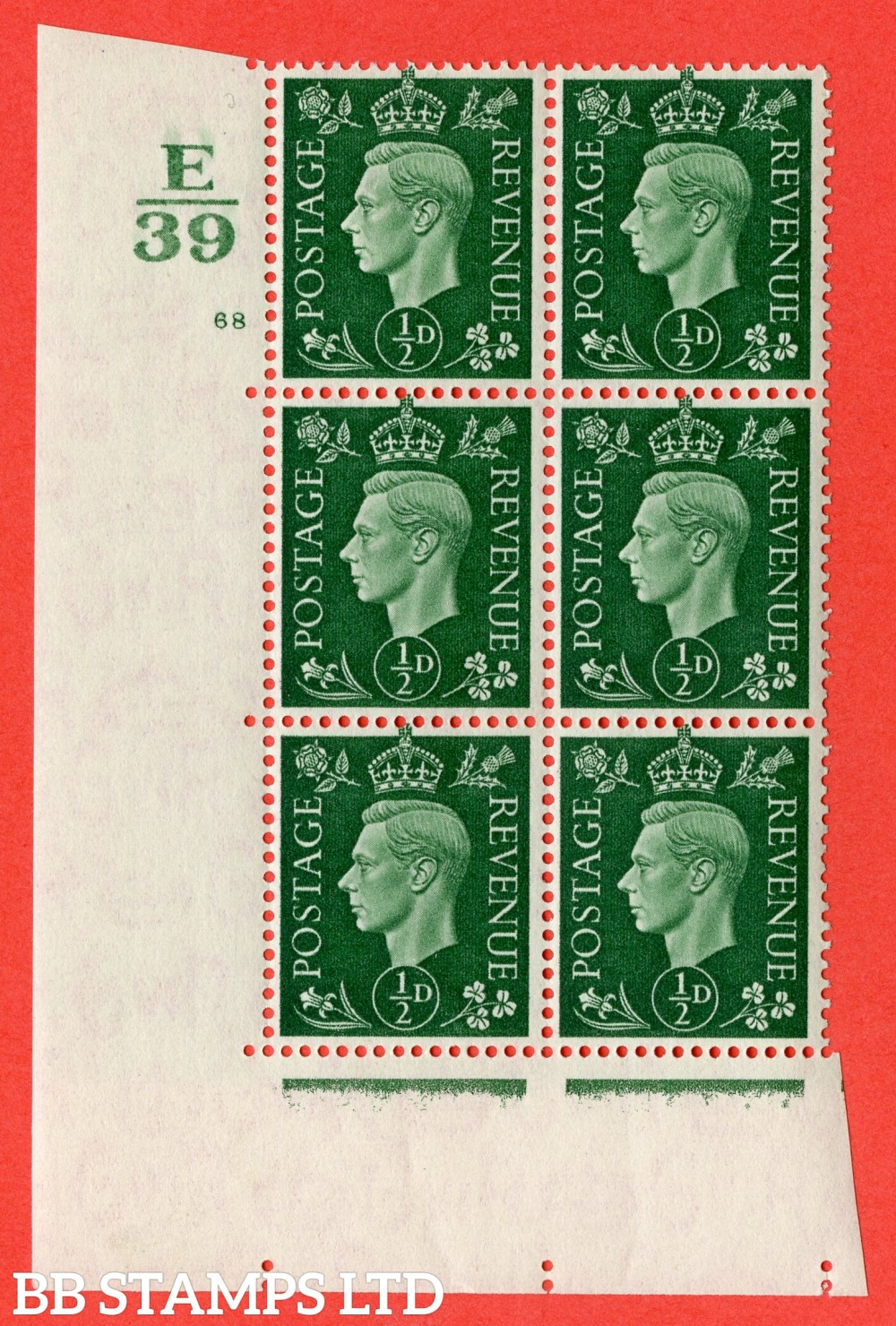 "SG. 462. Q1. ½d Green. A superb UNMOUNTED MINT "" Control E39 cylinder 68 no dot "" block of 6 with perf type 5 E/I."