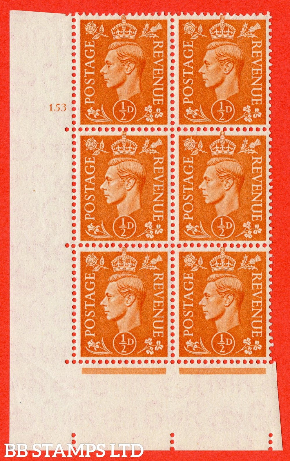 """SG. 503. Q3. ½d Pale Orange. A fine lightly mounted mint """" No Control cylinder 153 no dot """" control block of 6 with perf type 5 E/I."""