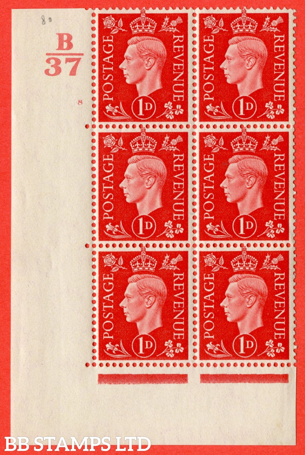 "SG. 463. Q4. 1d Scarlet. A fine lighly mounted mint "" Control B37 cylinder 8 no dot "" block of 6 with perf type 5 E/I."