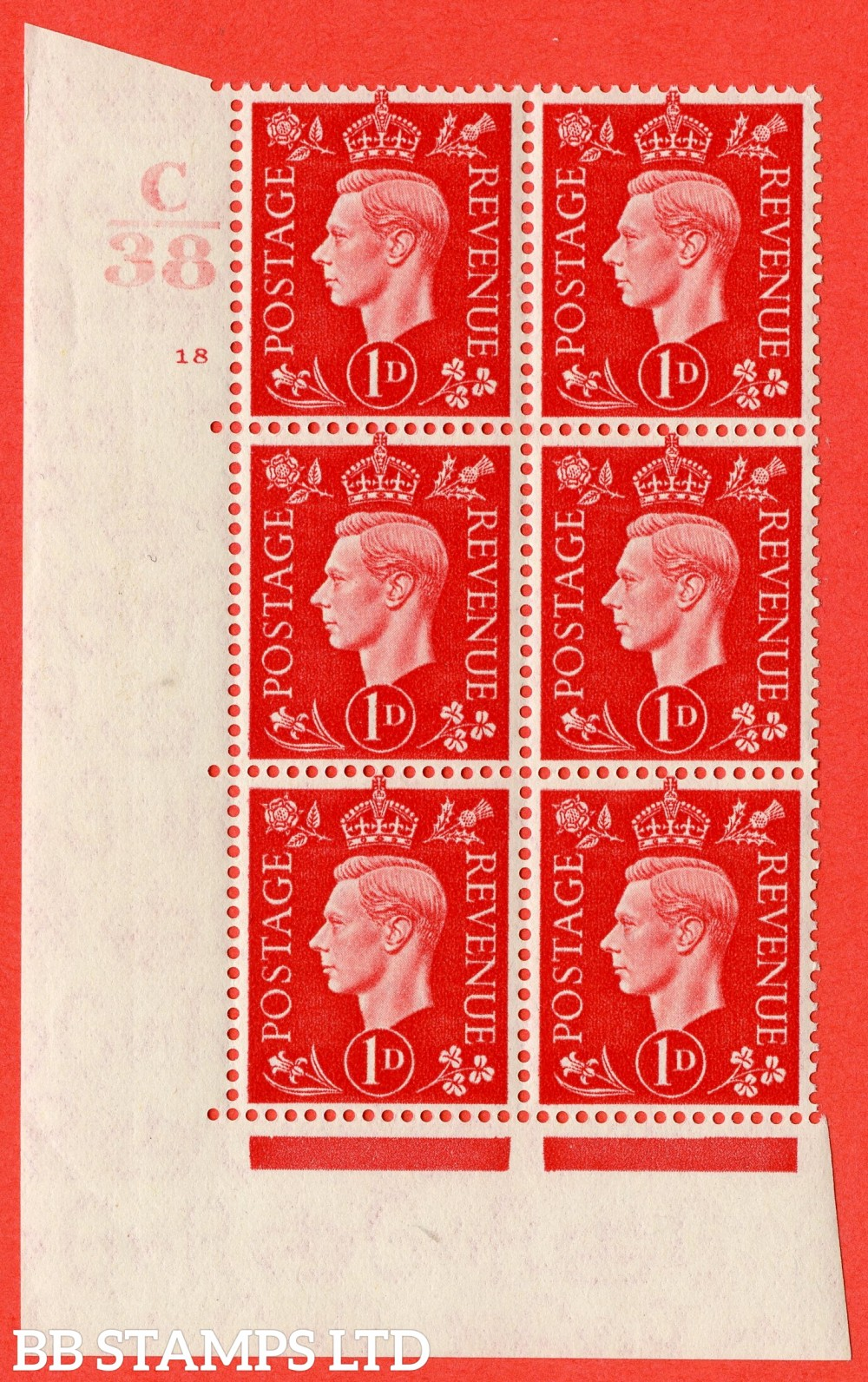 "SG. 463. Q4. 1d Scarlet. A superb UNMOUNTED MINT "" Control C38 cylinder 18 no dot "" block of 6 with perf type 5 E/I."