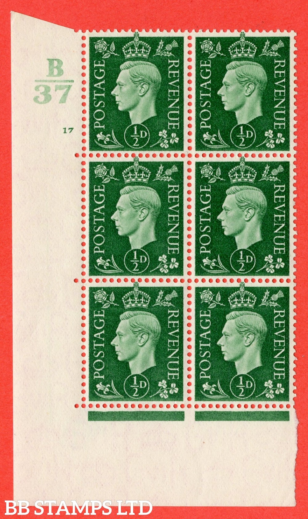 "SG. 462. Q1. ½d Green. A superb UNMOUNTED MINT "" Control B37 cylinder 17 no dot "" block of 6 with perf type 5 E/I."