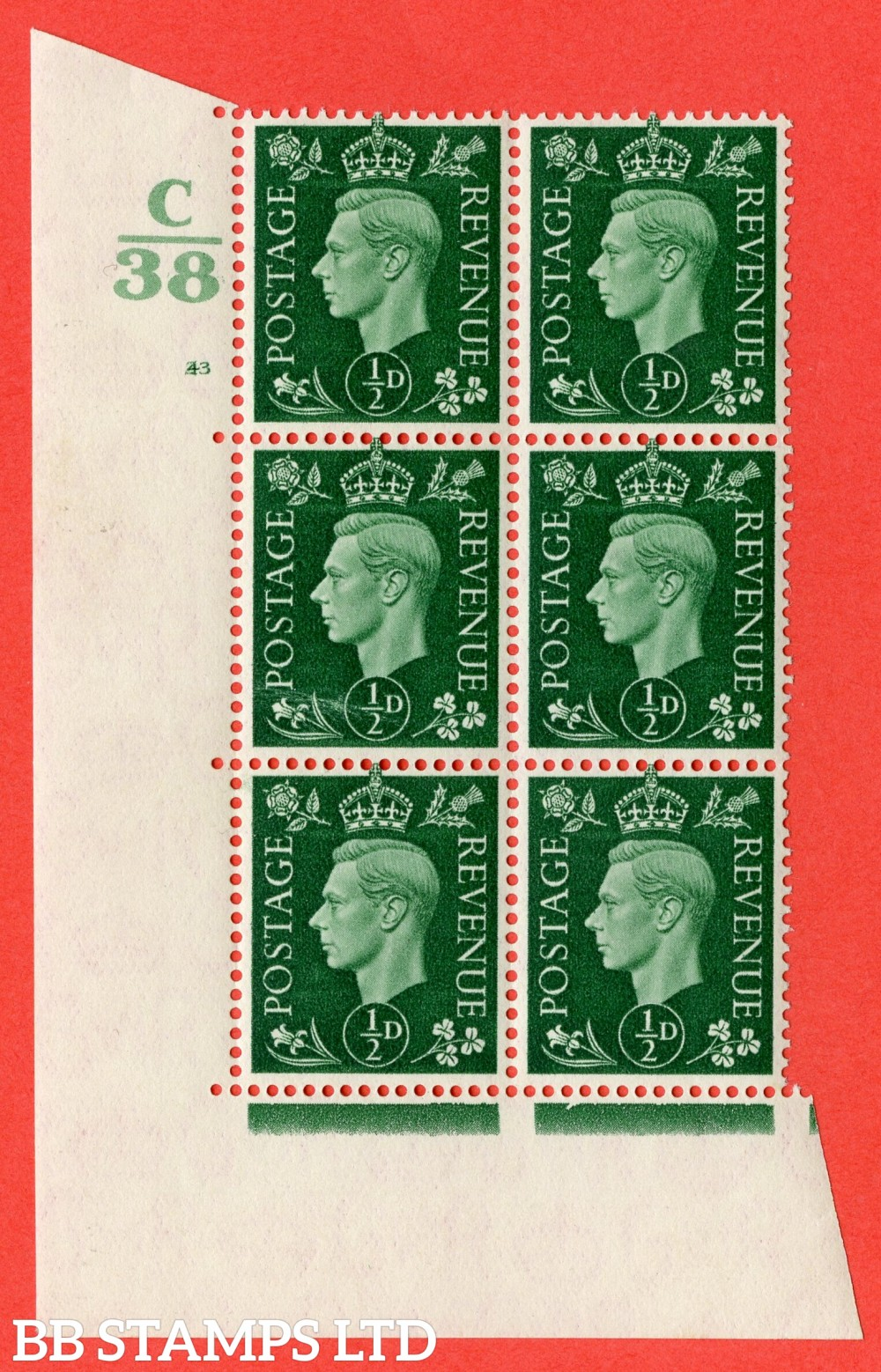 "SG. 462. Q1. ½d Green. A superb UNMOUNTED MINT "" Control C38 cylinder 43 (i) no dot "" block of 6 with perf type 5 E/I."