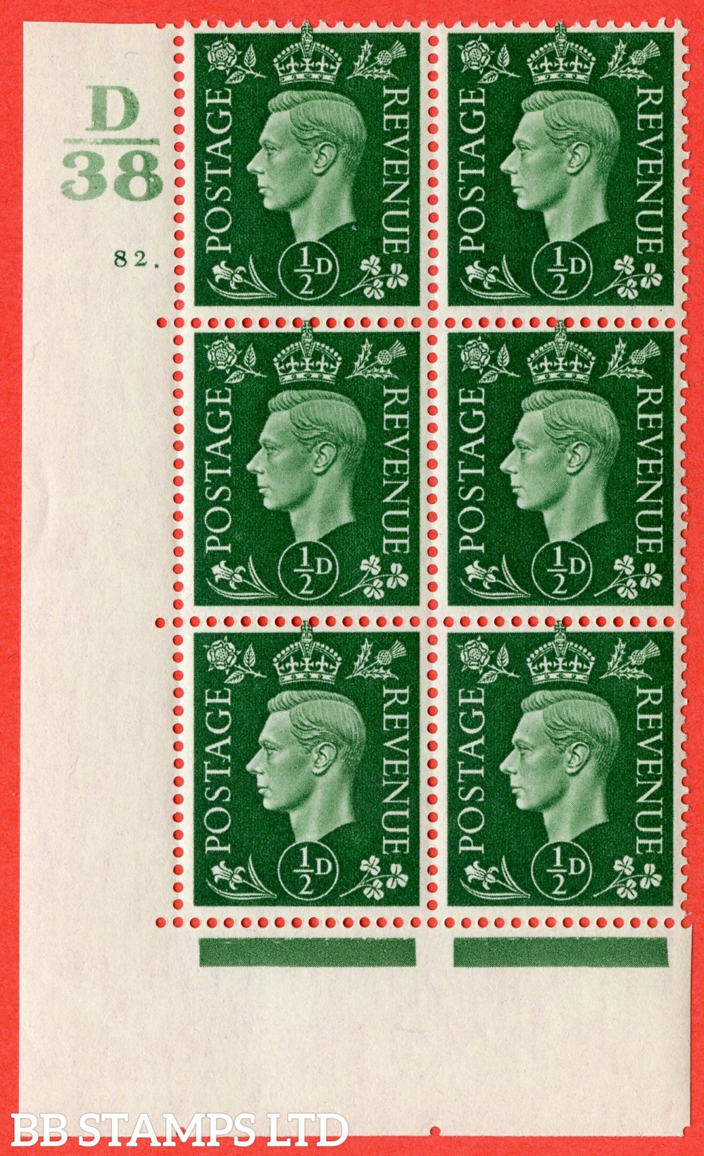 "SG. 462. Q1. ½d Green. A superb UNMOUNTED MINT "" Control D38 cylinder 82 dot "" block of 6 with perf type 5 E/I."