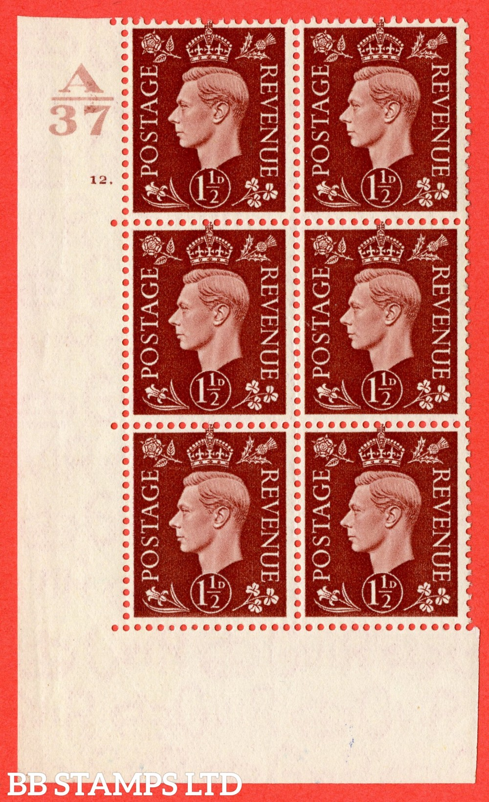 "SG. 464. Q7. 1½d Red-Brown. A fine lightly mounted mint  "" Control A37 cylinder 12 dot "" block of 6 with perf type 5 E/I."