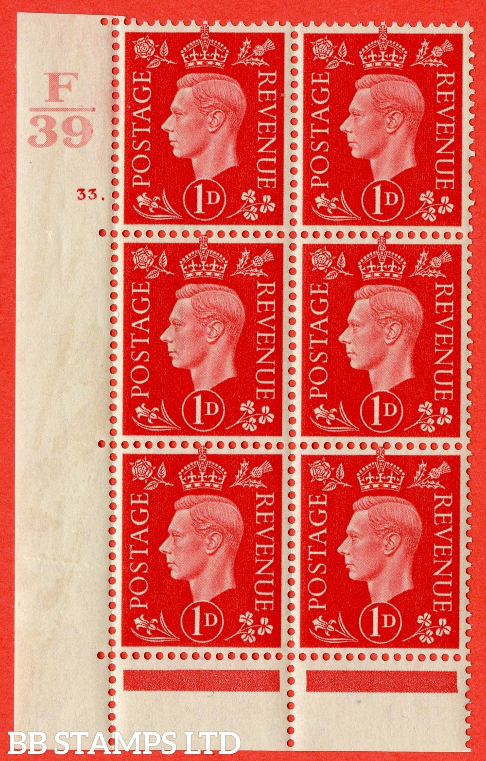 "SG. 463. Q4. 1d Scarlet. A superb UNMOUNTED MINT "" Control F39 cylinder 33 dot "" block of 6 with perf type 6B E/P."