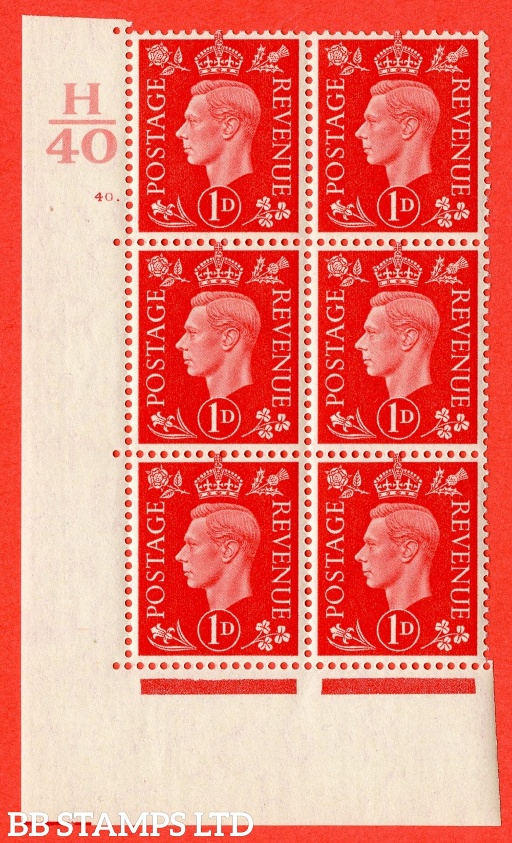 "SG. 463. Q4. 1d Scarlet. A fine lightly mounted mint "" Control H40 cylinder 40 dot "" block of 6 with perf type 5 E/I."