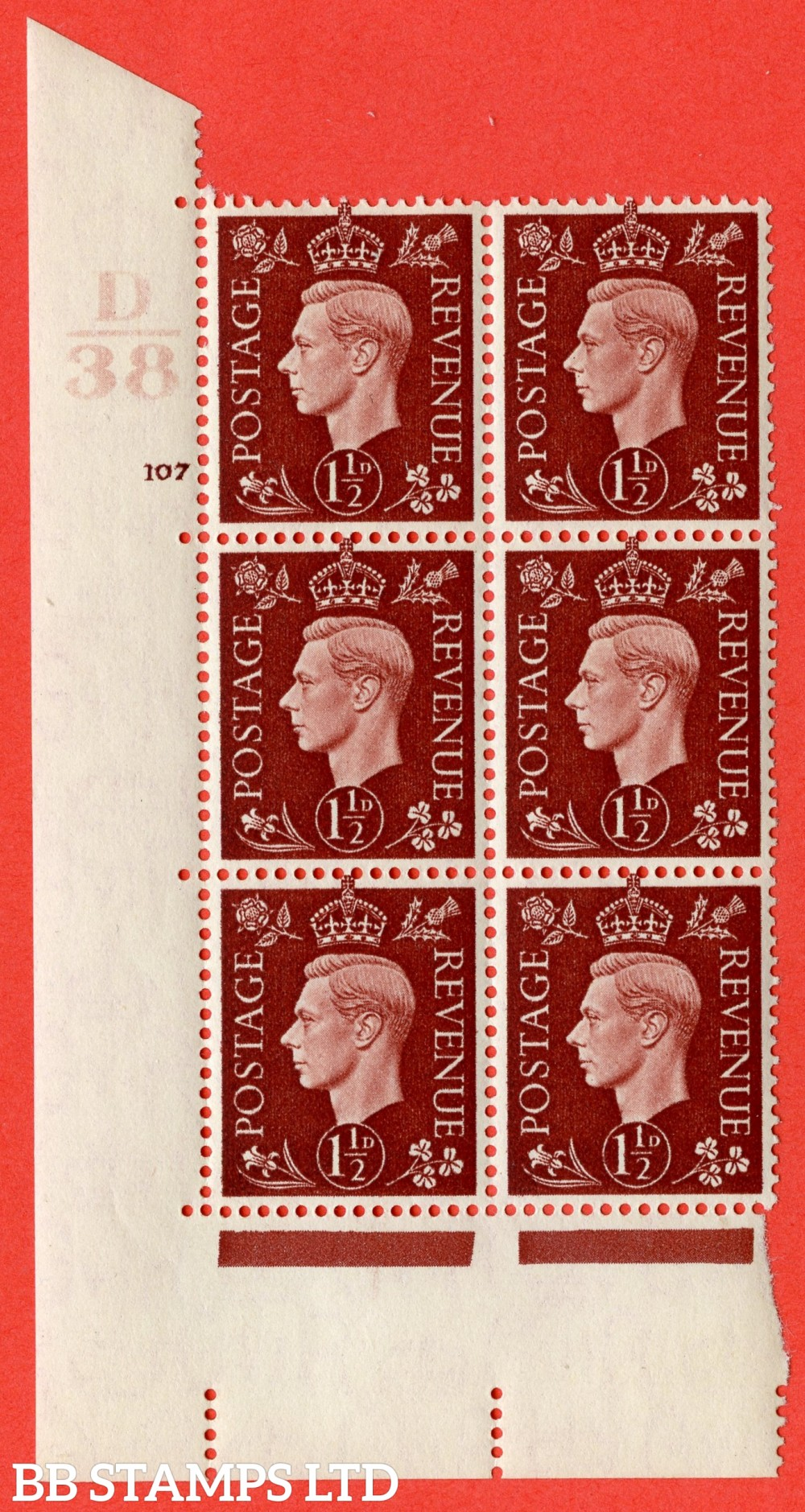 "SG. 464. Q7. 1½d Red-Brown. A superb UNMOUNTED MINT "" Control D38 cylinder 107 no dot "" block of 6 with perf type 5 E/I."