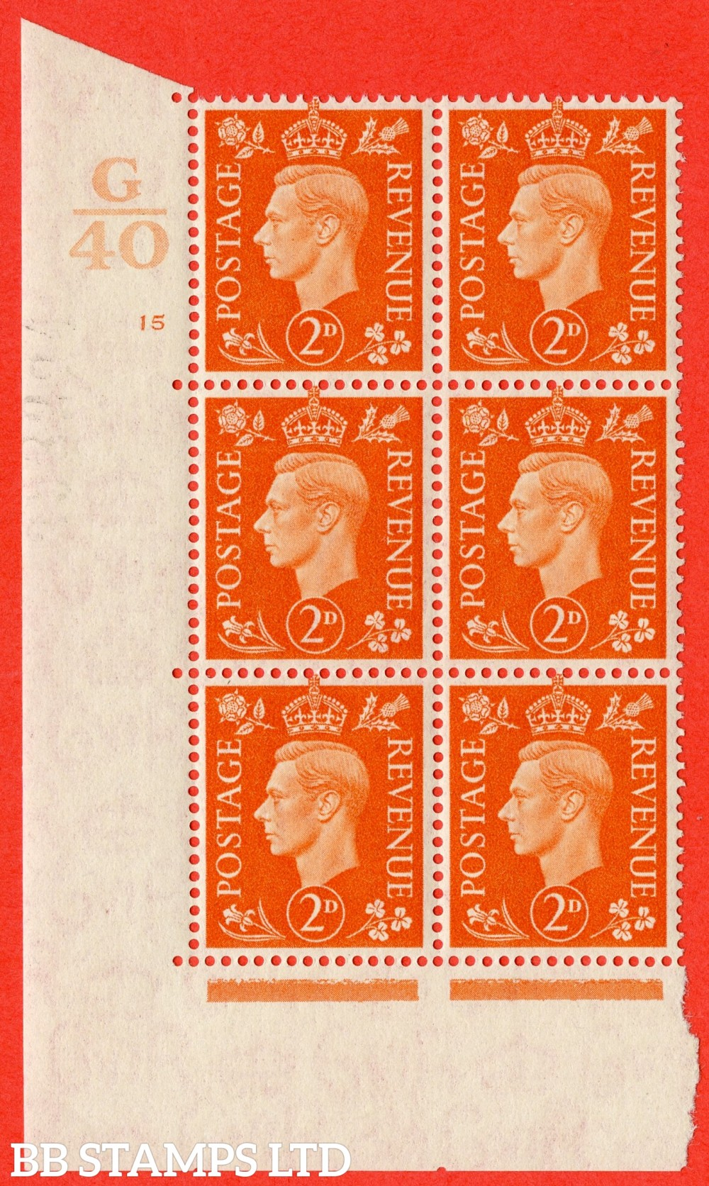 "SG. 465. Q10. 2d Orange. A fine lightly mounted mint "" Control G40 cylinder 15 no dot "" control block of 6 with perf type 5 E/I."