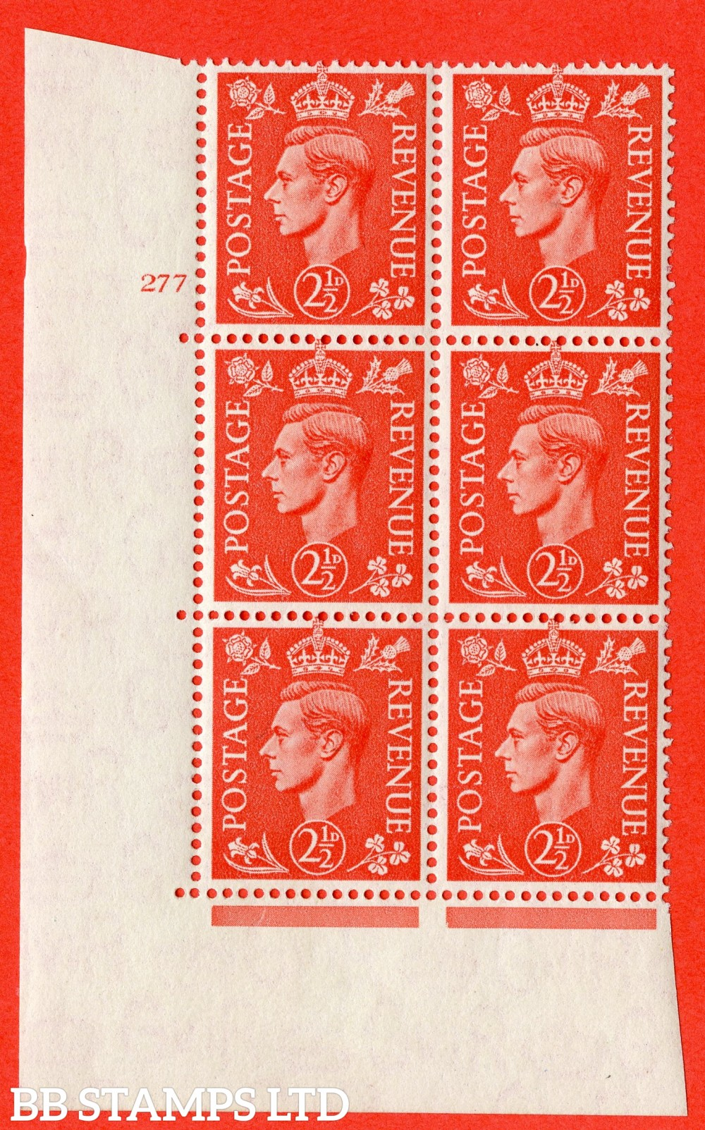 "SG. 507. Q15. 2½d Pale Scarlet. A fine lightly mounted mint "" No Control cylinder 277 no dot "" control block of 6 with perf type 5 E/I."