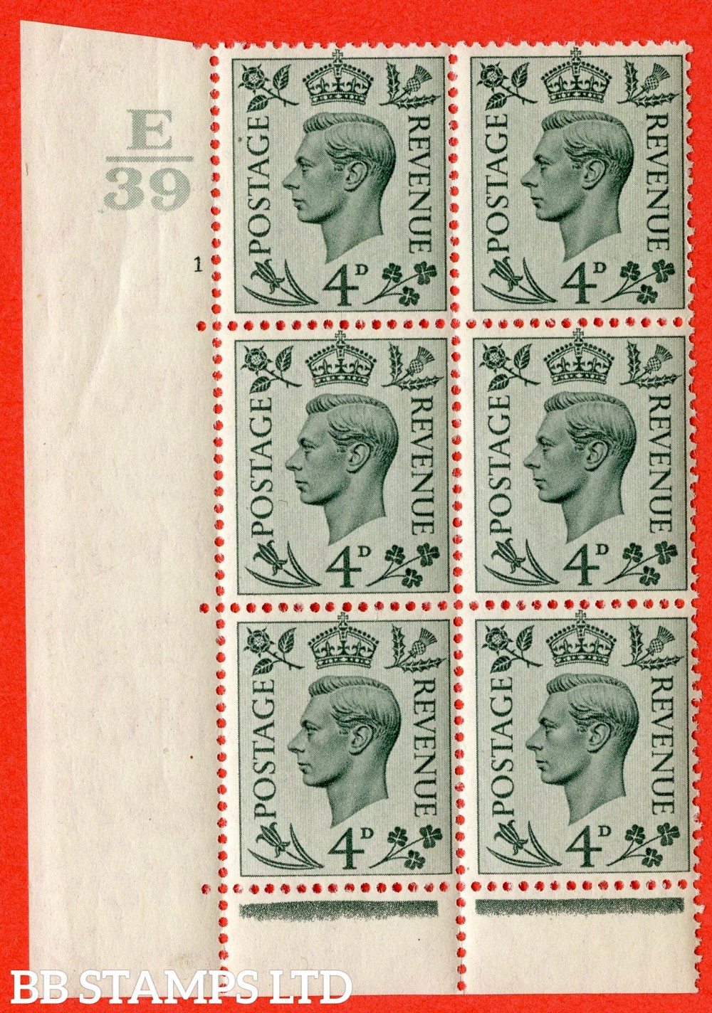 """SG. 468. Q19. 4d Grey-Green. A fine lightly mounted mint. """" Control E39. Cylinder 1 no dot """" control block of 6 with perf type 6B E/P."""