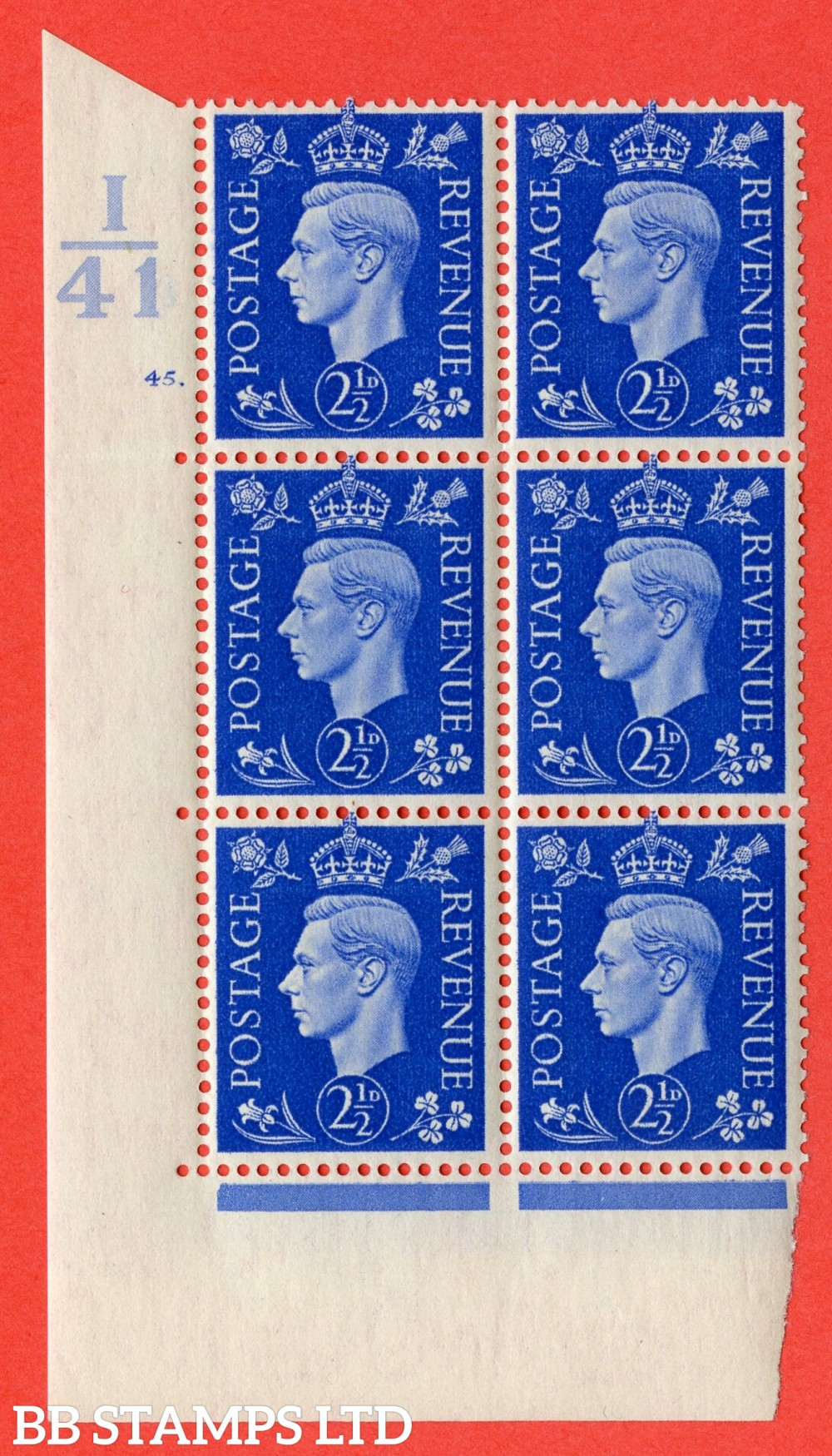 "SG. 466. Q13. 2½d Ultramarine. A superb UNMOUNTED MINT "" Control I41 cylinder 45 dot "" control block of 6 with perf type 5 E/I."