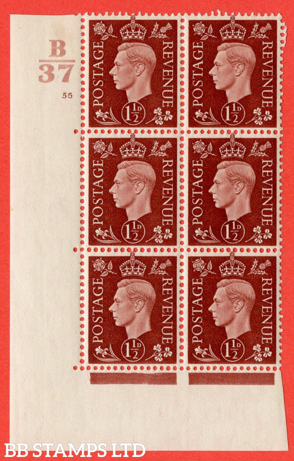 """SG. 464. Q7. 1½d Red-Brown. A fine lightly mounted mint """" Control B37 cylinder 55 no dot """" block of 6 with perf type 5 E/I."""