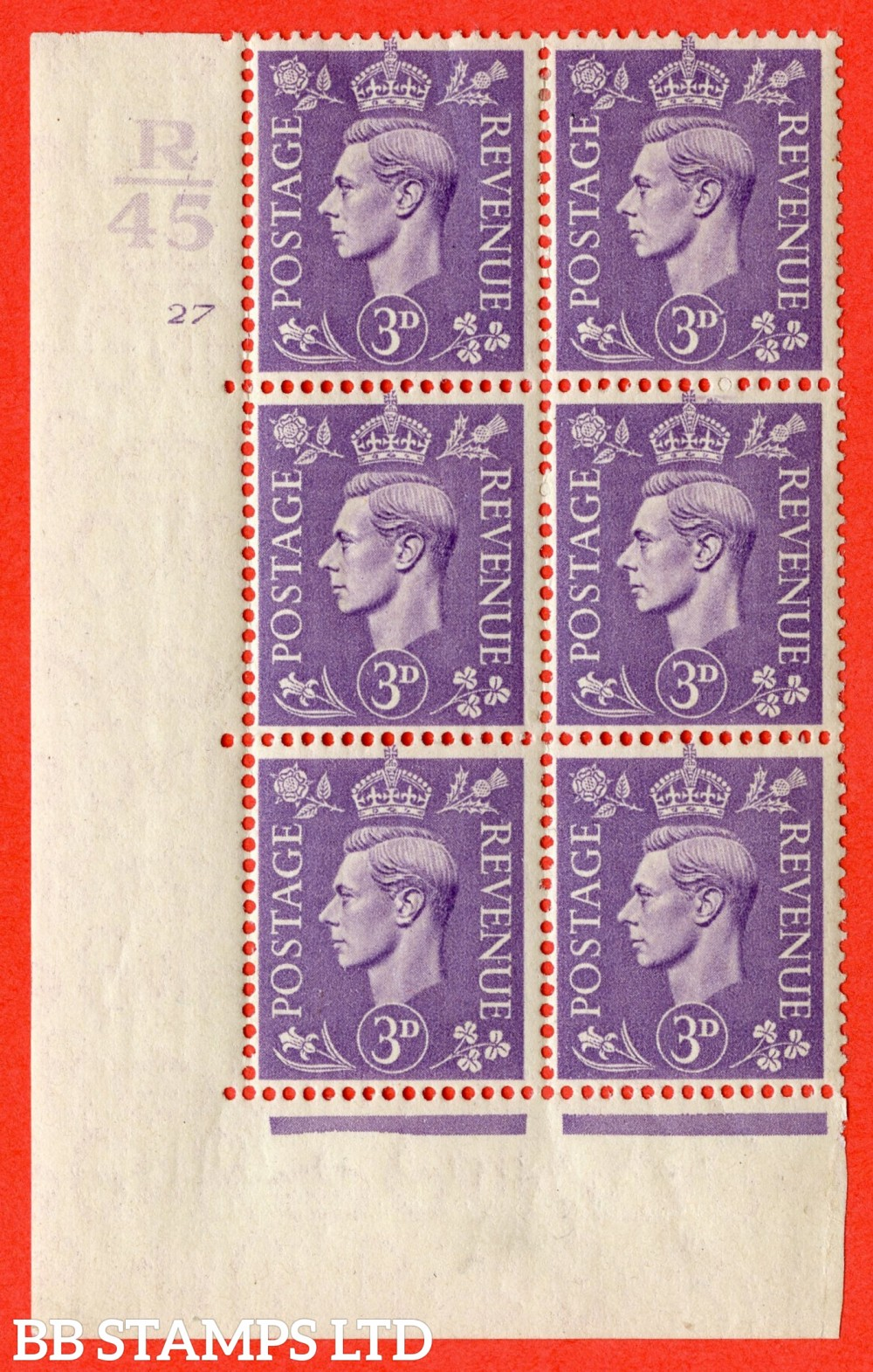 """SG. 490. Q17 c. 3d pale violet. A fine lightly mounted mint. """" Control R44 cylinder 27 no dot """" control block of 6 with perf type 5 E/I with listed variety """" broken circle to value """" Row 18/2."""