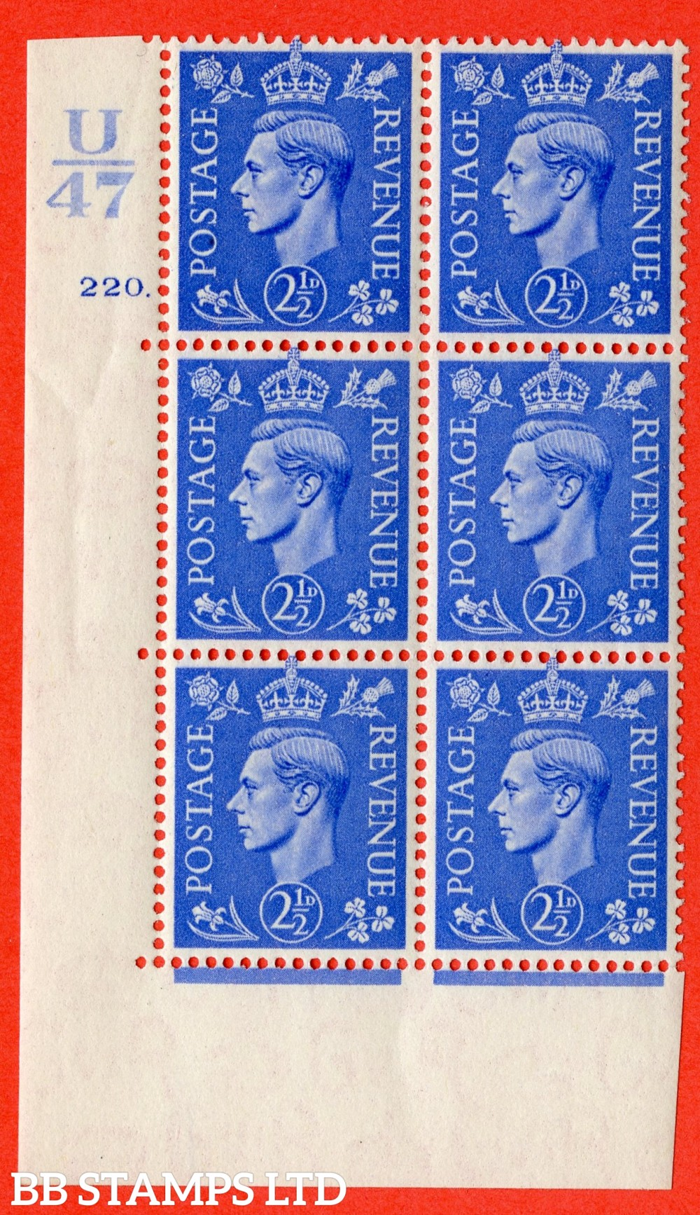 "SG. 489. Q14. 2½d Light ultramarine. A superb UNMOUNTED MINT "" Control U47 cylinder 220 dot "" control block of 6 with perf type 5 E/I"