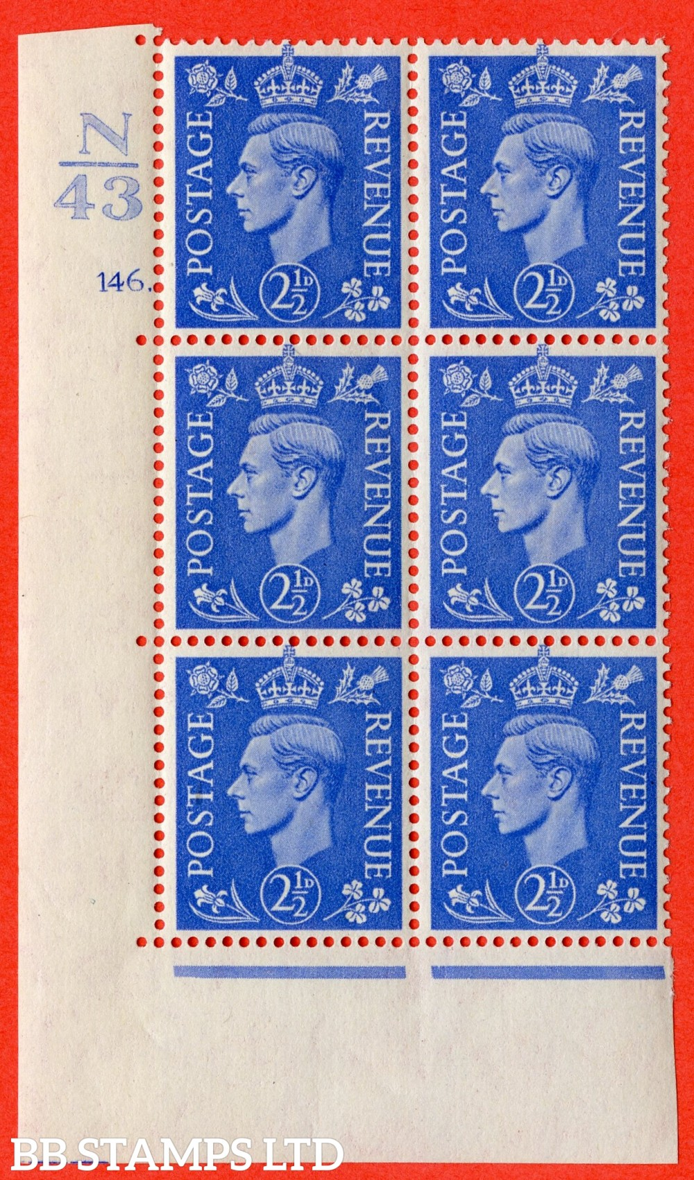 "SG. 489. Q14. 2½d Light ultramarine. A fine lightly mounted mint "" Control N43 cylinder 146 dot "" control block of 6 with perf type 5 E/I."