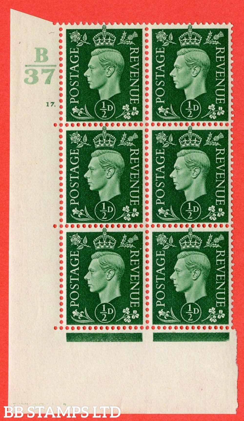 "SG. 462. Q1. ½d Green. A superb UNMOUNTED MINT "" Control A37 cylinder 17 dot "" block of 6 with perf type 5 E/I with marginal rule."