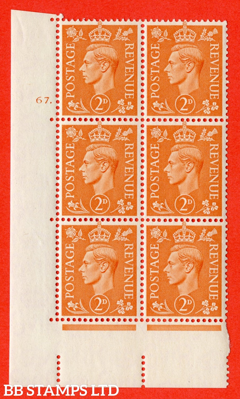 "SG. 488. Q11. 2d Pale Orange. A superb UNMOUNTED MINT "" No Control cylinder 67 dot "" control block of 6 with perf type 5 E/I"
