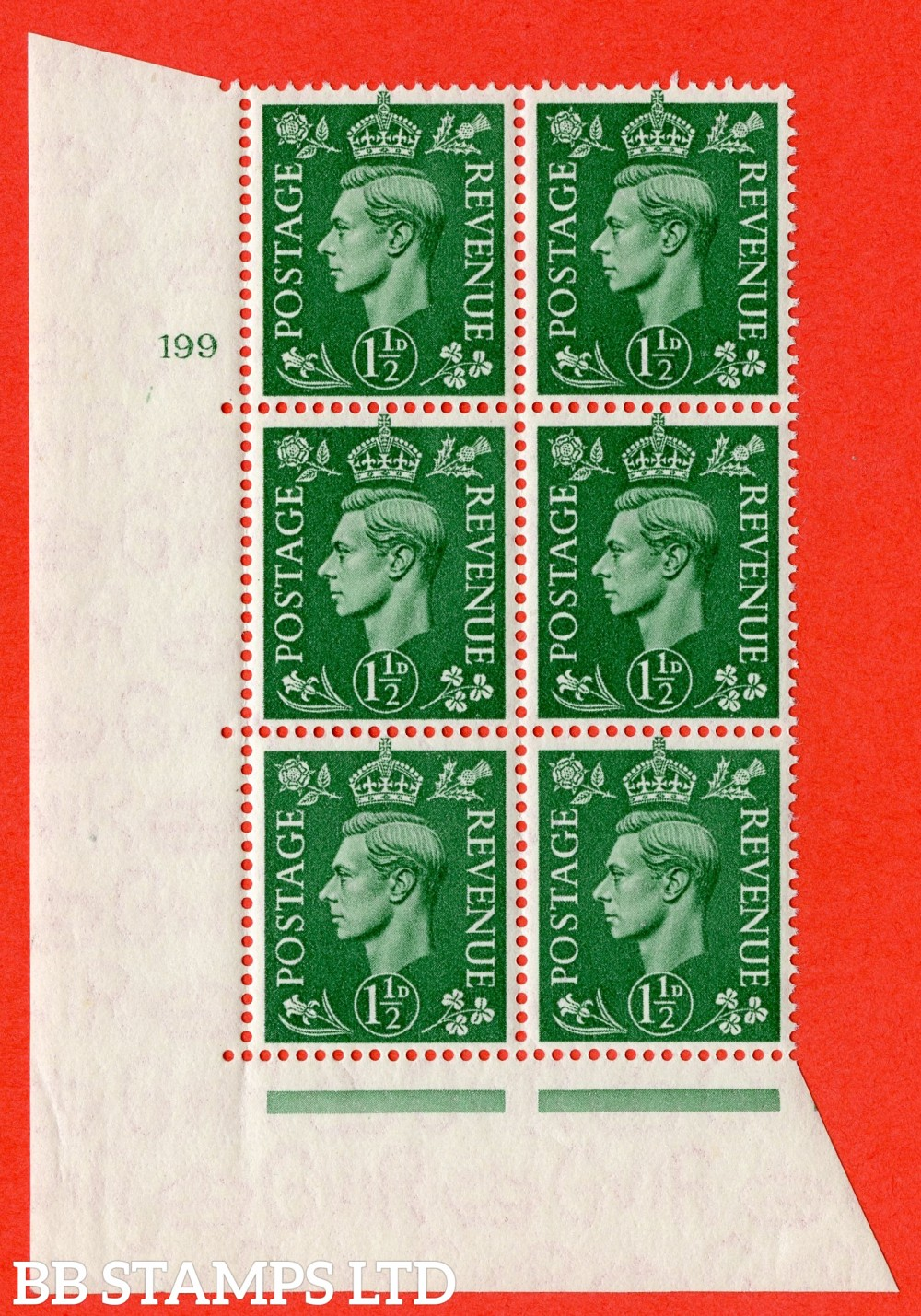 "SG. 505. Q9. 1½d Pale Green. A superb UNMOUNTED MINT "" No Control cylinder 199 no dot "" control block of 6 with perf type 5 E/I"