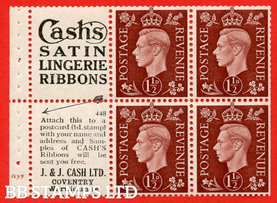 """QB23 Perf Type B3A(P) (3) No. 448  1½d Red-Brown x 6 Pane, UNMOUNTED MINT.Cylinder Pane G37 no dot ( SG. 464b ) Perf type B3A(P). """"Cash's satin lingerie ribbons / Coventry, Warwickshire"""" at foot. Trimmed Perfs."""