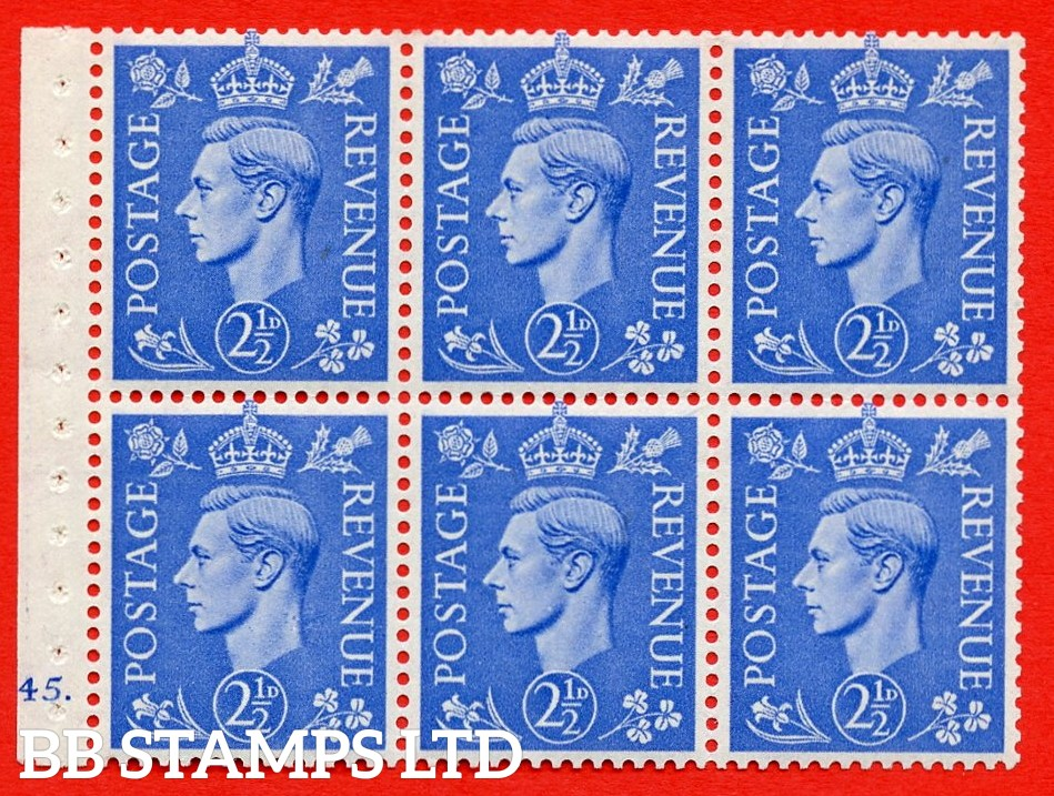 """SG. 489f. QB33. 2½d blue. A fine MOUNTED MINT complete Cylinder pane of 6 J45 dot. Perf type """"B6(IE)"""". Good Perfs."""