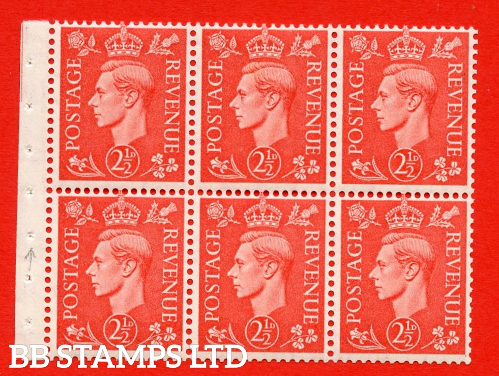 """SG. 507 c. QB34. 2½d pale scarlet. A fine UNMOUNTED MINT Booklet pane of 6. Perf type """" Ieb """". Good Perfs."""