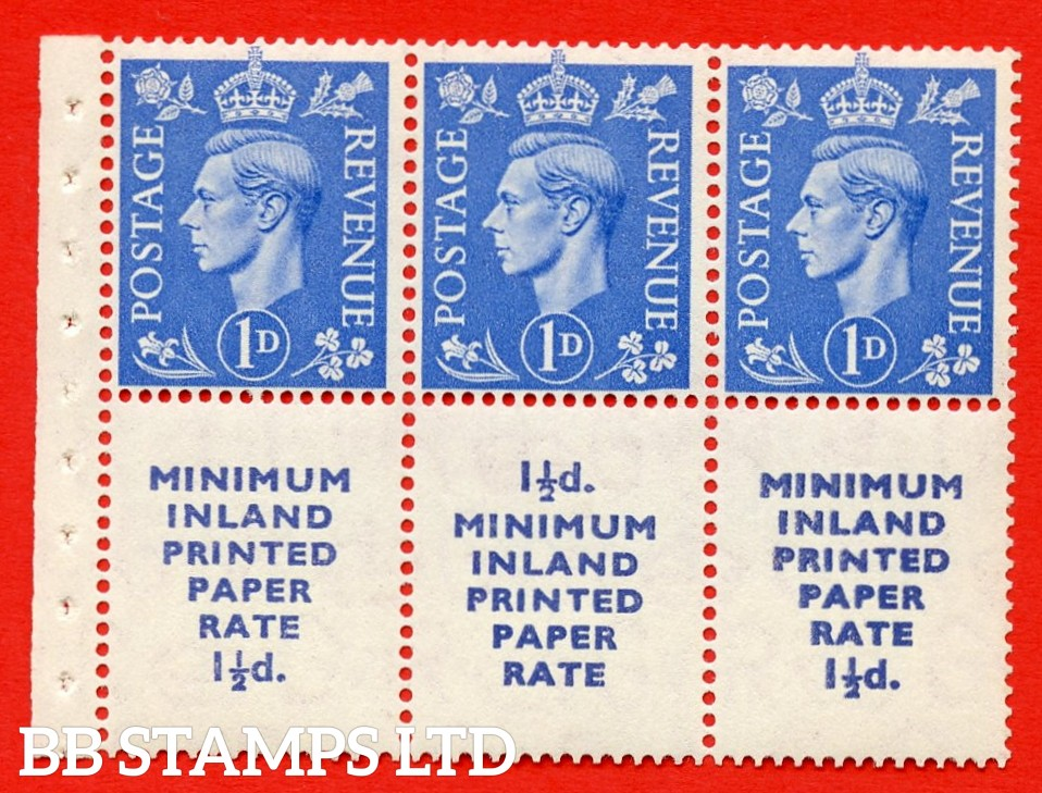 """SG. 504d. QB19. 1d ultramarine. A fine UNMOUNTED MINT complete booklet pane """" MINIMUM INLAND PRINTED PAPER RATE """" 15 mm high """". Perf type """" I """". Good Perfs."""