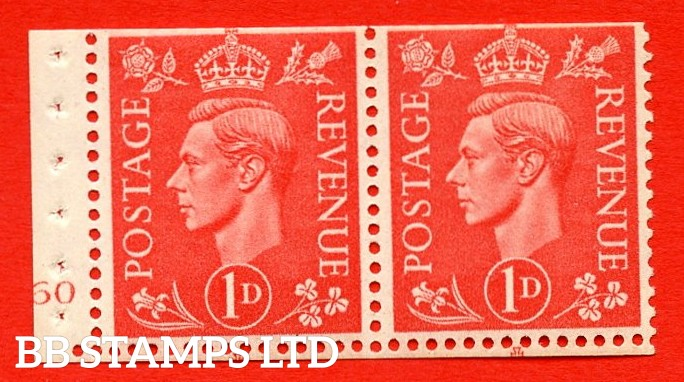SG. 486. QB14a. 1d Pale scarlet. A fine UNMOUNTED MINT complete cylinder pane of 2 160 No Dot. Perf type ' E '. Trimmed Perfs.