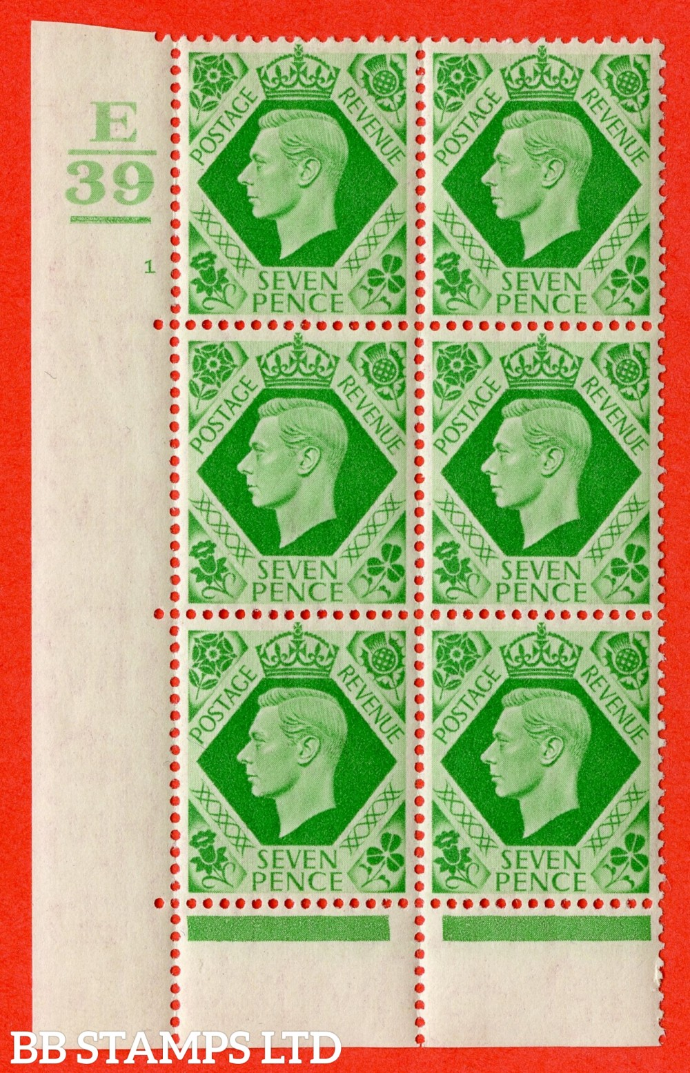 """SG. 471. Q23. 7d Emerald-Green. A superb UNMOUNTED MINT """" Control E39. 1 Bar. Cylinder 1 no dot """" control block of 6 with perf type 6B E/P"""