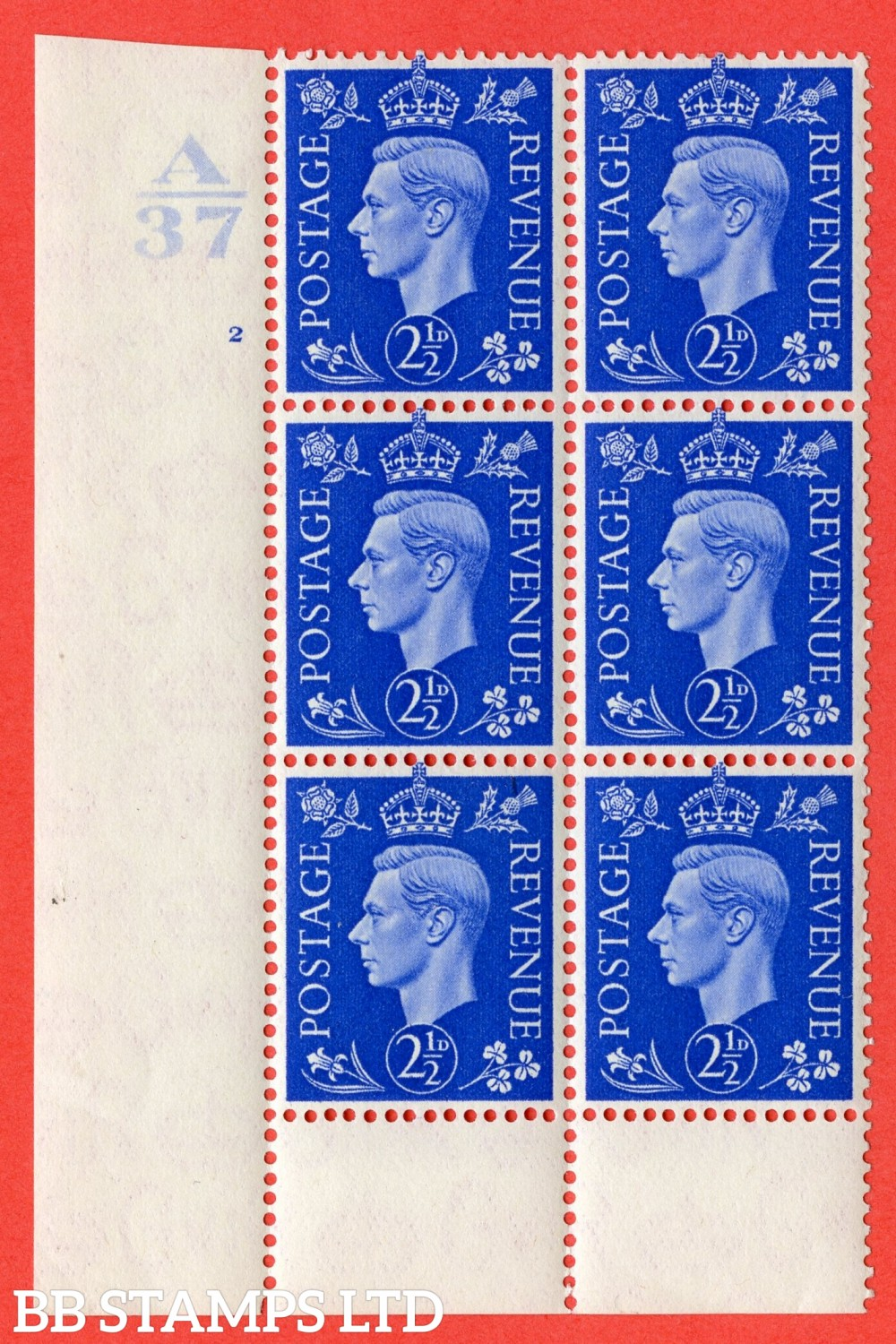 """SG. 466. d. Q13. 2½d Ultramarine.  A fine lightly mounted mint """" Control A37 cylinder 2 no dot """" control block of 6 with perf type 6 I/P. with listed variety """" Scratch on Temple """" R20/1."""