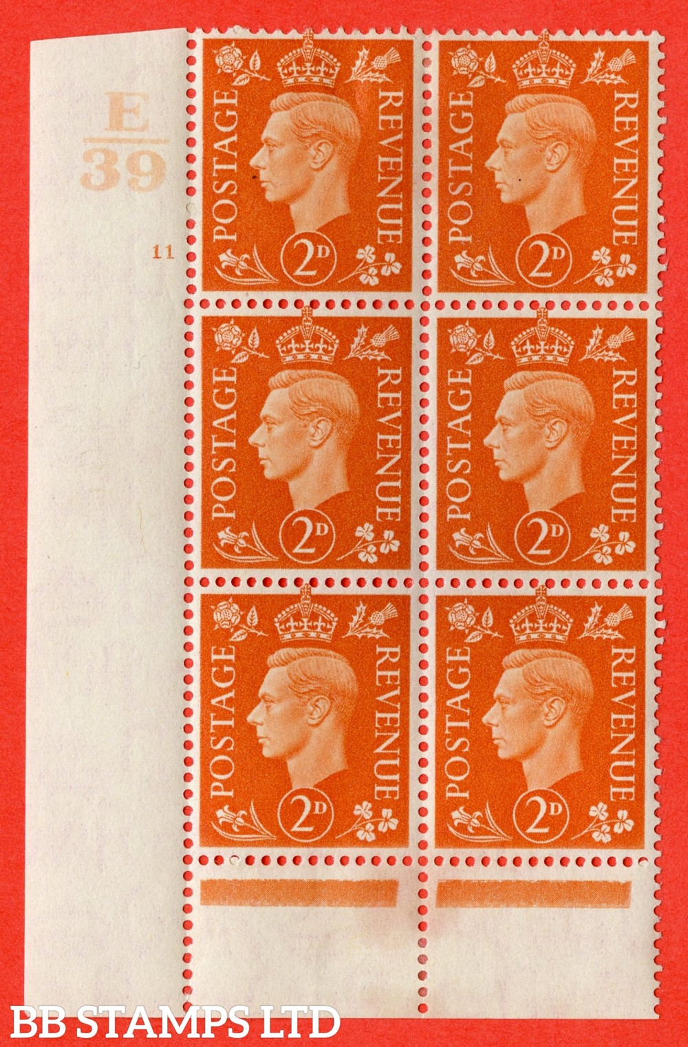 "SG. 465. Q10. 2d Orange. A fine lightly mounted mint "" Control E39 cylinder 11 no dot "" control block of 6 with perf type 6 I/P."