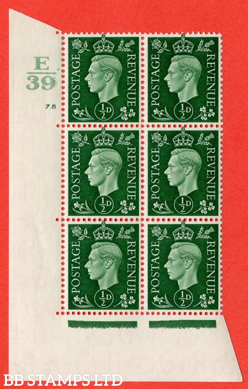 "SG. 462. Q1. ½d Green. A superb UNMOUNTED MINT "" Control E39 cylinder 78 no dot "" block of 6 with perf type 5 E/I with marginal rule."