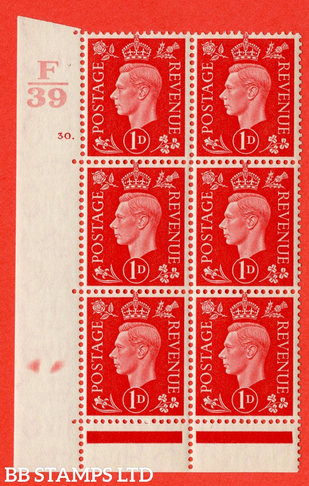 "SG. 463. Q4. 1d Scarlet. A superb UNMOUNTED MINT "" Control F39 cylinder 30 dot "" block of 6 with perf type 6B E/P with marginal rule."